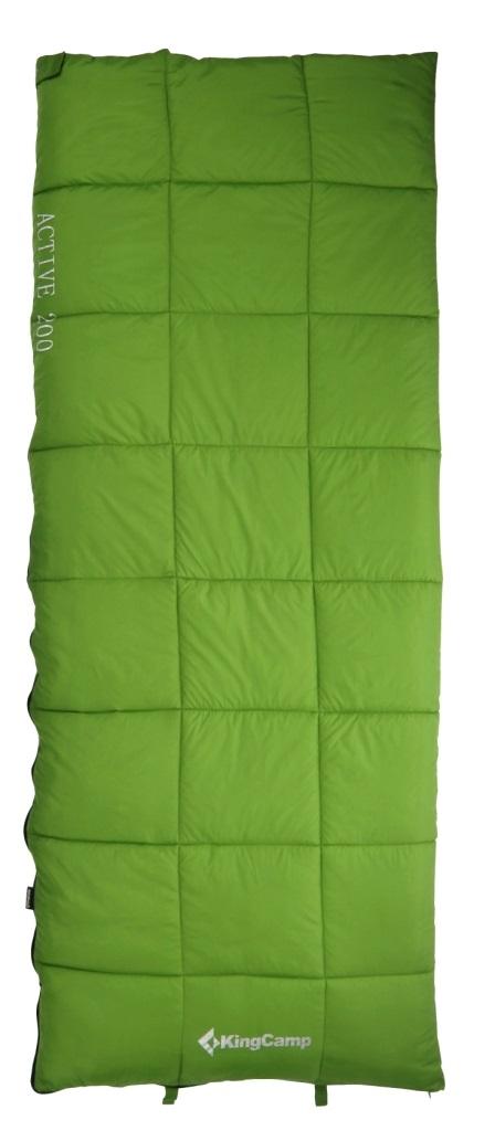 Спальник - одеяло KingCamp ACTIVE 200 -2С, цвет: зеленыйУТ-000055692Спальный мешок ACTIVE 200 Артикул: KS 3188 Синтетический спальник-одеяло для трех сезонов Размеры в упакованном виде: 32 см х 20 см Размеры: 190х75 см Вес: 1300 г Внешний материал: полиэстер 210Т RipStop W/P; внутренний материал: 100% хлопок (фланель); наполнитель: четырехканальное волокно Hollowfibre, 200 г/м2 Клапан на застежке – молнии Двусторонняя застежка-молния Сумка для переноски из нейлона Температура: комфорт +8С - +16C, экстрим -2С Назначение: треккинг, велотуризм, кемпинг