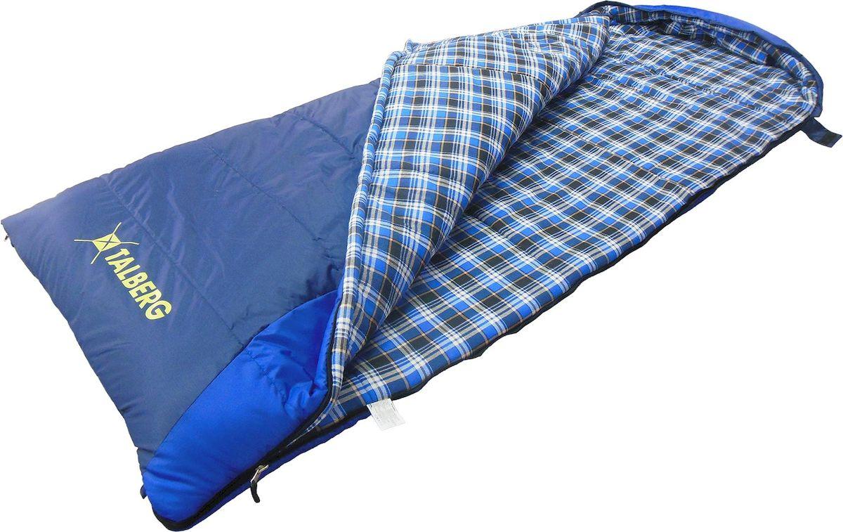 Спальник - одеяло Talberg BUSSEN -22С, левая молния, цвет: синийУТ-000068071BUSSEN -22С арт TLS-020 Спальный мешок-одеяло с капюшоном Наружная ткань: полиэстер RipStop 210T PU Внутренняя ткань: хлопок (фланель) Утеплитель: 2x175 g/m2 Shelter (полиэфирное микроволокно) Упаковка: компрессионный мешок Вес: 2150 г Размеры: (190+40) х 90 см Компрессионный мешок: 38x28 см Температурный режим: комфорт 0 C... -13 C extreme -22 C