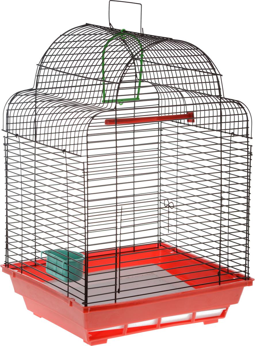 Клетка для птиц ЗооМарк Купола, цвет: красный поддон, коричневая решетка, 35 х 29 х 51 см460_красный, коричневыйКлетка ЗооМарк Купола, выполненная из полипропилена и металла, предназначена для мелких птиц. Изделие состоит из большого поддона и решетки. Клетка снабжена металлической дверцей. В основании клетки находится малый поддон. Клетка удобна в использовании и легко чистится. Она оснащена жердочкой, кольцом для птицы, кормушкой и подвижной ручкой для удобной переноски. Комплектация: - клетка с поддоном, - малый поддон; - кормушка; - кольцо; - жердочка.