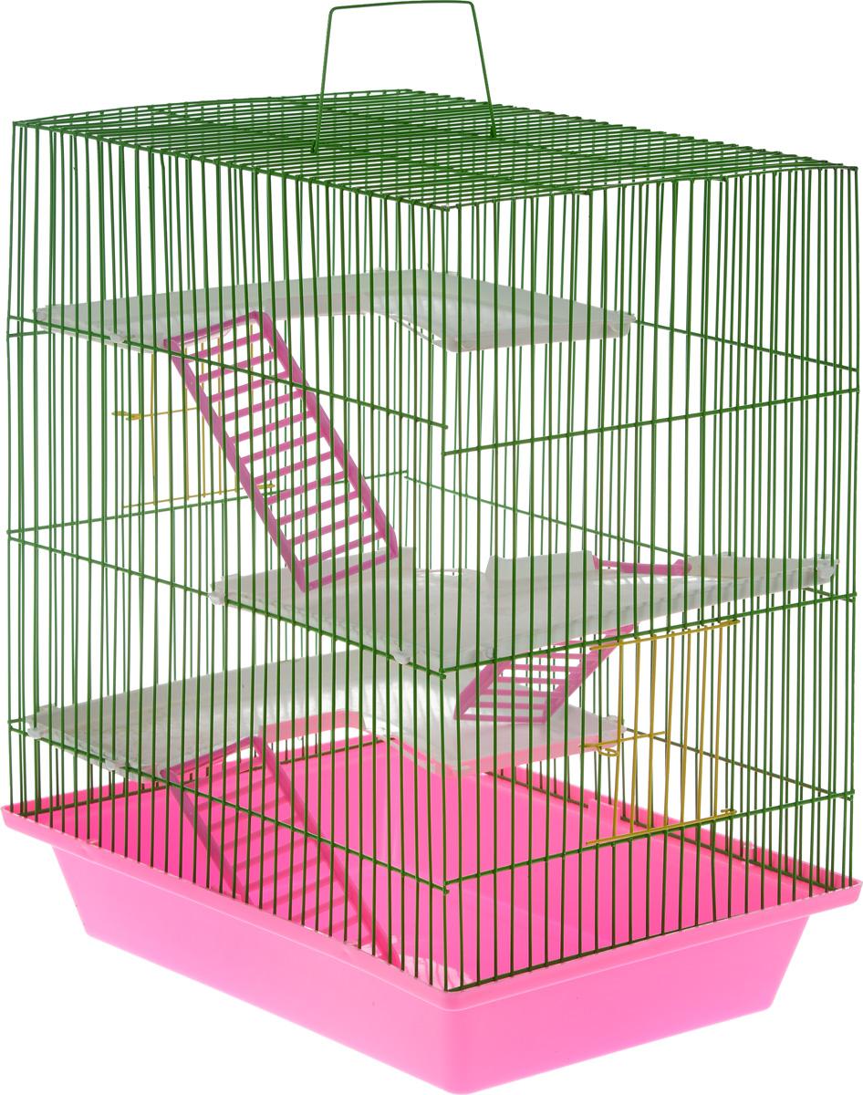 Клетка для грызунов ЗооМарк Гризли, 4-этажная, цвет: розовый поддон, зеленая решетка, 41 х 30 х 50 см240_розовый, зеленыйКлетка ЗооМарк Гризли, выполненная из полипропилена и металла, подходит для мелких грызунов. Изделие четырехэтажное. Клетка имеет яркий поддон, удобна в использовании и легко чистится. Сверху имеется ручка для переноски. Такая клетка станет уединенным личным пространством и уютным домиком для маленького грызуна.