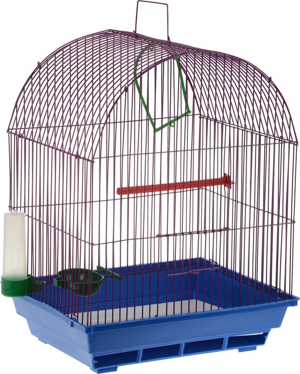 Клетка для птиц ЗооМарк, цвет: синий поддон, сиреневая решетка, 35 х 28 х 52 см440_синий, сиреневыйКлетка ЗооМарк, выполненная из полипропилена и металла, предназначена для мелких птиц. Вы можете поселить в нее одну или две птицы. Изделие состоит из большого поддона и решетки. Клетка снабжена металлической дверцей, которая открывается и закрывается движением вверх-вниз. В основании клетки находится малый поддон. Клетка удобна в использовании и легко чистится. Она оснащена жердочкой, кольцом для птицы, кормушкой, поилкой и подвижной ручкой для удобной переноски. Комплектация: - клетка с поддоном, - малый поддон; - кормушка; - поилка; - кольцо.