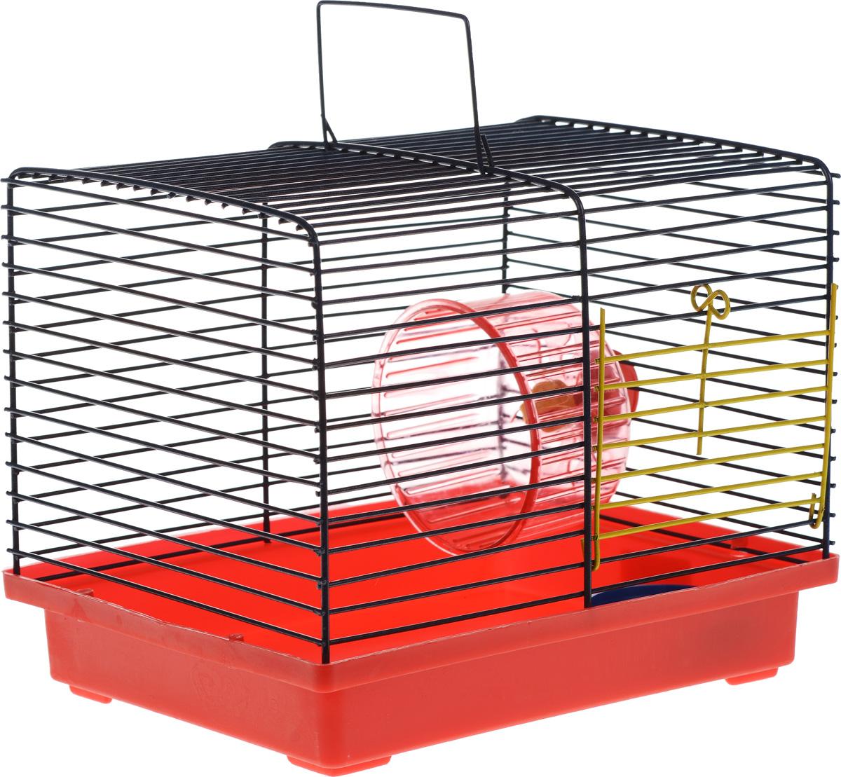 Клетка для хомяка ЗооМарк, с колесом и миской, цвет: красный поддон, синяя решетка, 23 х 18 х 18,5 см511_красный, синийКлетка ЗооМарк, выполненная из пластика и металла, подходит для джунгарского хомячка или других небольших грызунов. Она оборудована колесом для подвижных игр и миской. Клетка имеет яркий поддон, удобна в использовании и легко чистится. Такая клетка станет личным пространством и уютным домиком для маленького грызуна. Комплектация: - клетка с поддоном; - колесо; - миска.
