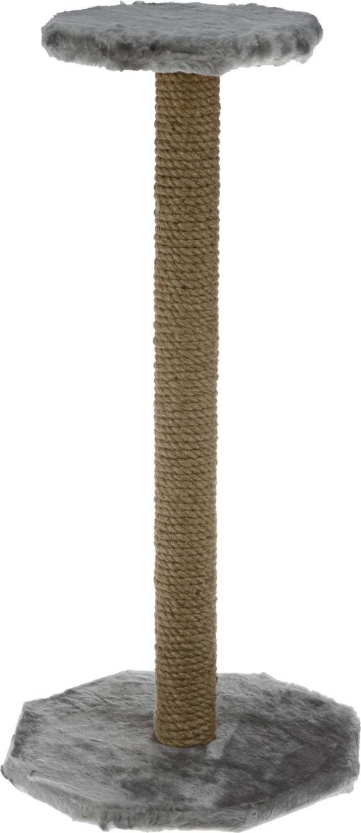 """Когтеточка """"ЗооМарк"""", с полкой, цвет: серый, высота 75 см 101-1_серый"""