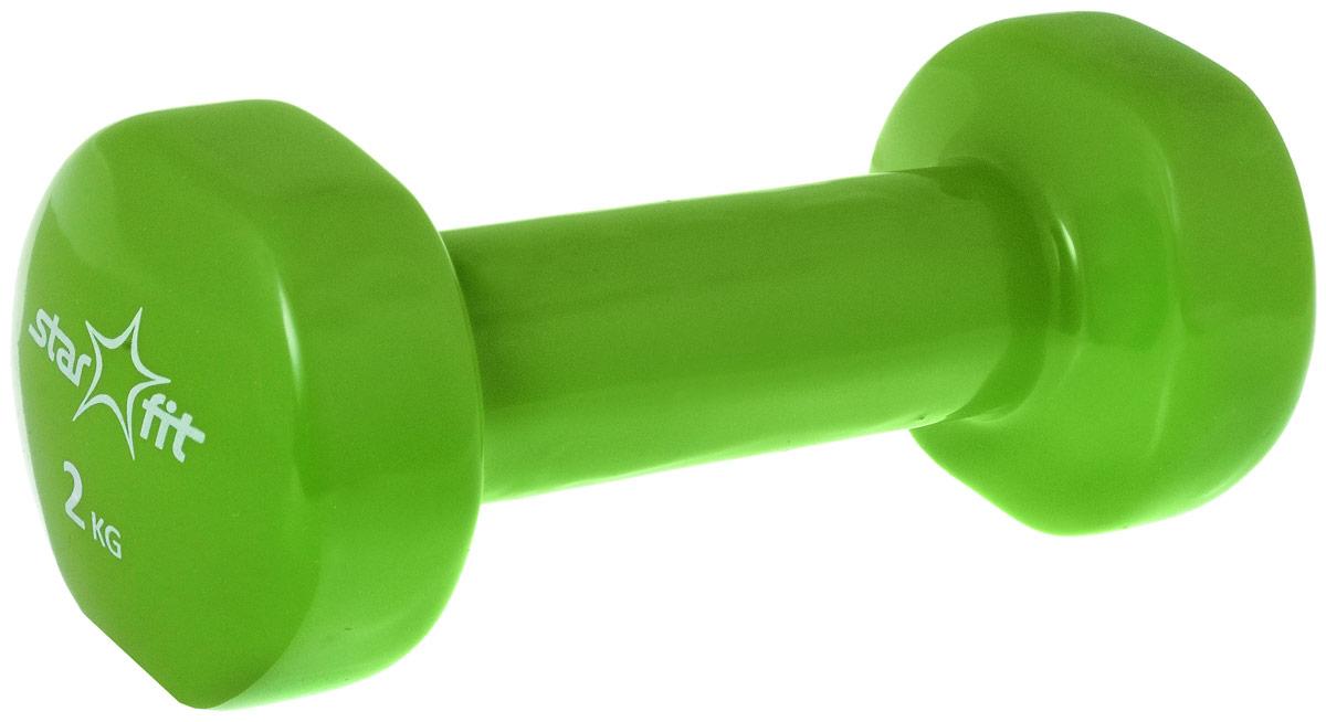 Гантель виниловая Star Fit, цвет: зеленый, 2 кгУТ-00007043Металлическая гантель с виниловым покрытием Star Fit отлично подойдет для занятий спортом. Она помогает укрепить мышцы рук, грудной клетки, верхней части спины и плеч. Этот спортивный снаряд является идеальной дополнительной нагрузкой для любых физических упражнений. Для себя можно подобрать подходящий комплекс и неуклонно худеть, разминаясь с гантелями. В скором времени стройная фигура и отличное самочувствие станут наградой за постоянные занятия.