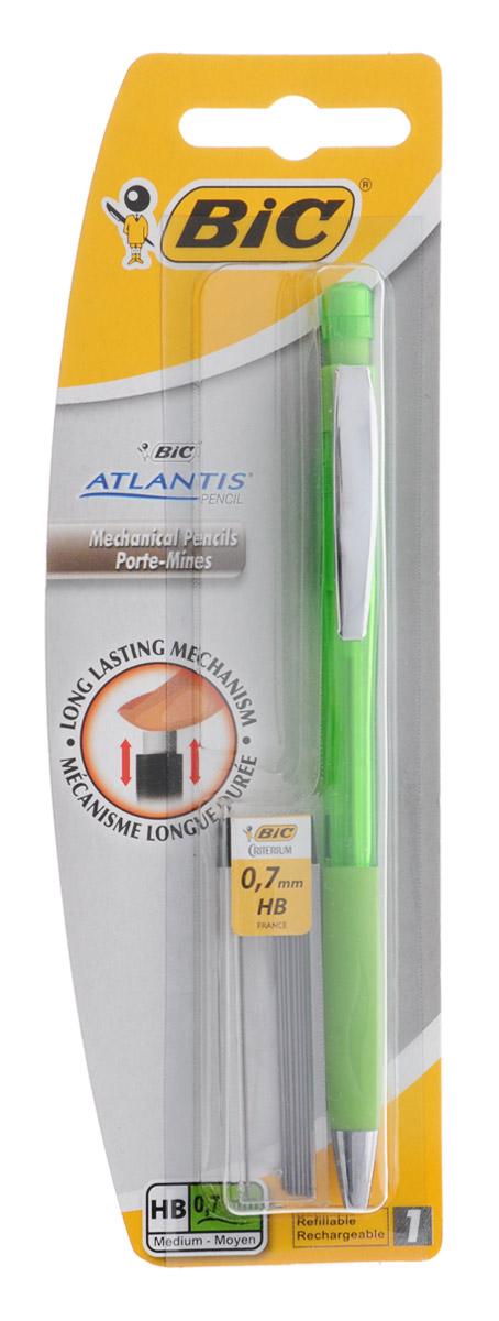 Bic Карандаш механический Atlantis со сменными грифелями цвет корпуса зеленыйB8208002_зеленыйМеханический карандаш Bic Atlantis будет вашим незаменимым помощников в школе, офисе и дома. Благодаря выдвижному пишущему узлу карандаш не пачкается. Прорезиненный грип исключает скольжение пальцев во время письма, обеспечивая комфорт. Специальный ластик для графита встроен в кнопку карандаша. В комплект также входит контейнер с 12 запасными грифелями. Цвет грифеля: серый.