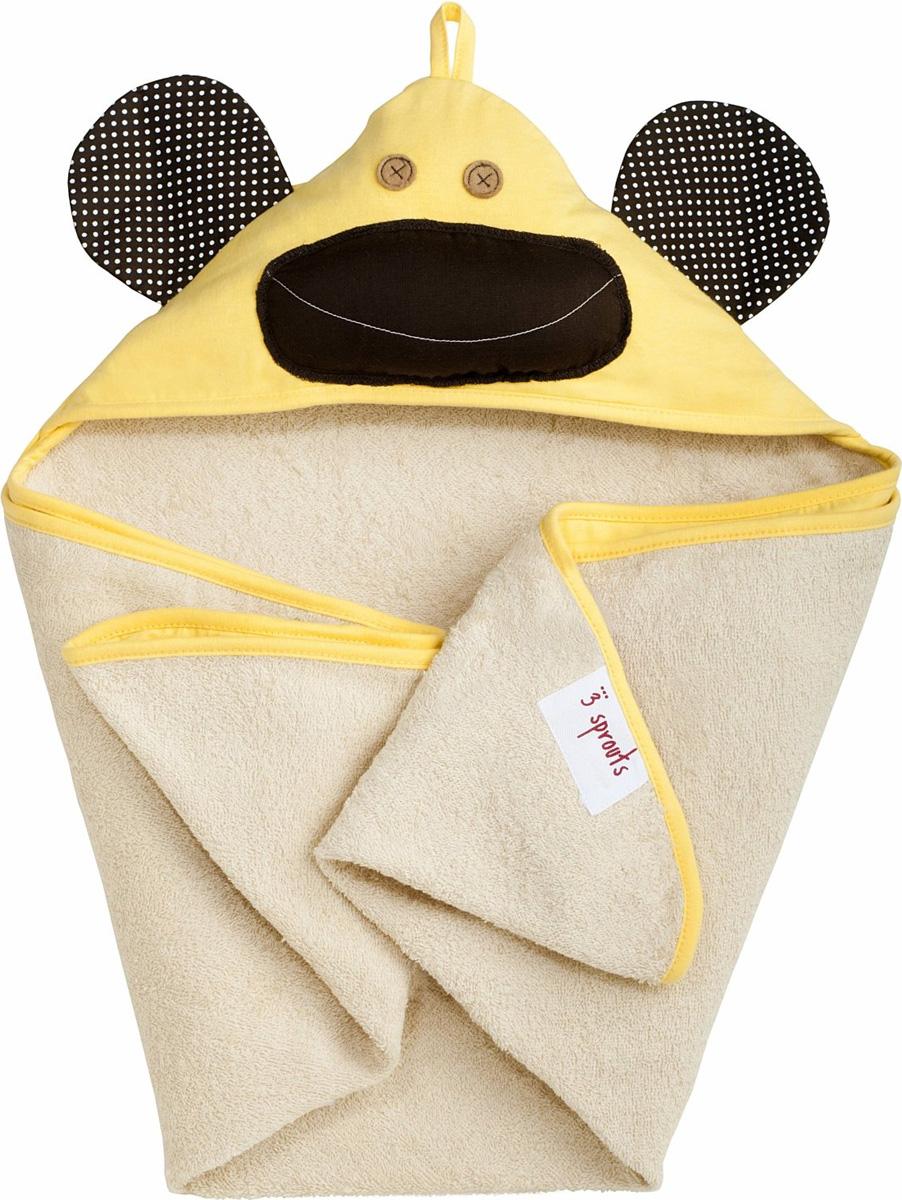 3 Sprouts Полотенце с капюшоном Желтая обезьянка 79 х 79 см