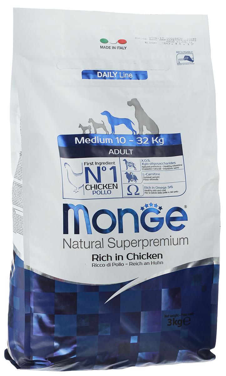 Корм сухой Monge для взрослых собак средних пород, 3 кг70004244Сухой корм для собак Monge - это полноценный корм, специально разработанный для ежедневного питания взрослых собак средних пород с нормальной физической активностью. Его формула основана на особом балансе белков и энергетических веществ с витаминно-минеральной составляющей из морских водорослей, помогающих вашим друзьям питаться каждый день, исключая возможность накопления излишнего холестерина. Рецептура имеет оптимальное соотношение жирных кислот Омега-3 и Омега-6. Состав: мясо цыпленка (мин. 10% свежего и мин. 26% дегидратированного), рис (мин. 26%), кукуруза, свекольная мякоть, куриный жир, пивные дрожжи, селедочная мука, рыбий жир, Юкка Шидигера, цистин, ФОС (фруктоолигосахариды), морские водоросли, хлорид натрия, холинхлорид, витамин C, инозит, мононитрат тиамина (витамин B1), рибофлавин (витамин B2), гидрохлорид пиридоксина (витамин B6), кобаламин (витамин B12), d- пантотеновая кислота, биотин (витамин H), ниацин (витамин PP), фолиевая ...