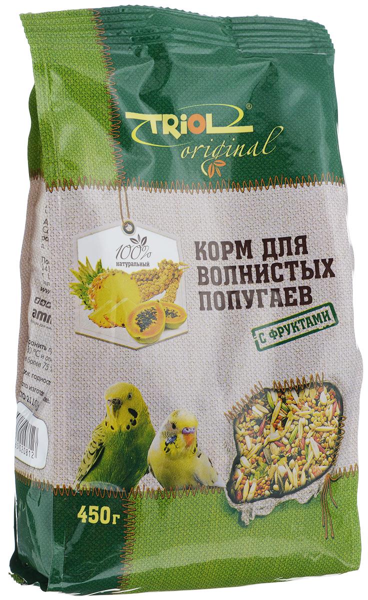 Корм для волнистых попугаев Triol, с фруктами, 450 гTF-00300Полнорационный корм Triol разработан в соответствии с пищевыми потребностями волнистых попугаев и содержит только натуральные компоненты. Семена, входящие в состав корма, богаты эфирными маслами, необходимыми для здоровья птиц. Добавление в корм сухих фруктов обеспечивает вашего питомца дополнительными витаминами, микро- и макроэлементами. Товар сертифицирован.