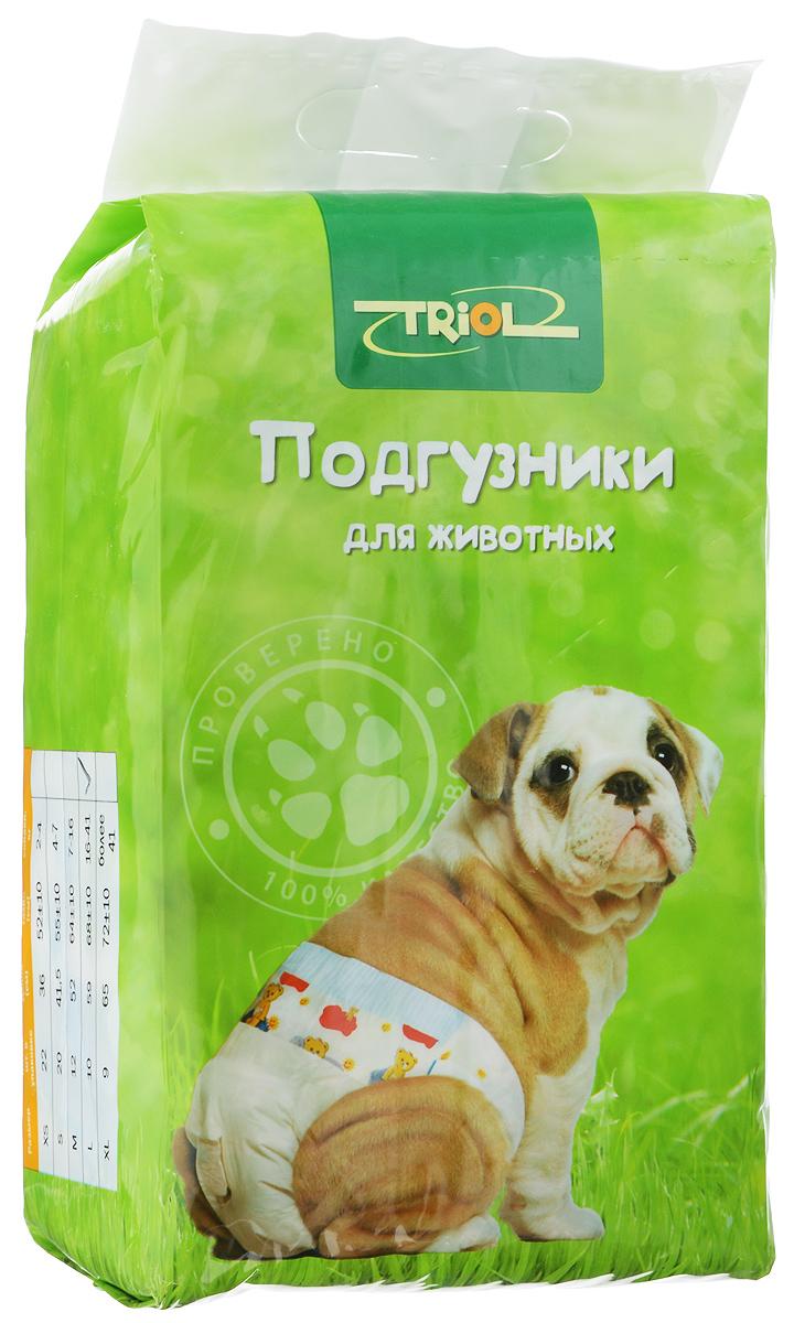 Подгузники для домашних животных Triol, 16-41 кг, 10 шт. Размер LDP04Подгузники для домашних животных Triol подходит для собак весом от 16 до 41 кг, с обхватом талии 68 ± 10 см и длиной 59 см. Внутренняя поверхность подгузника изготовлена исключительно из мягких и эластичных, содержащих хлопок нетканых материалов. Быстро впитывают влагу и оставляют поверхность сухой. Во избежание аллергических реакций не используются натуральные или искусственные отдушки. Впитывающий слой состоит из натуральной распушенной целлюлозы, которая является отличным абсорбентом. Внешний слой надежно удерживает жидкость внутри, а эластичные боковые барьеры позволяют избежать протекания. Кроме этого, верхний слой декорирован забавным рисунком. Комплектация: 10 шт.