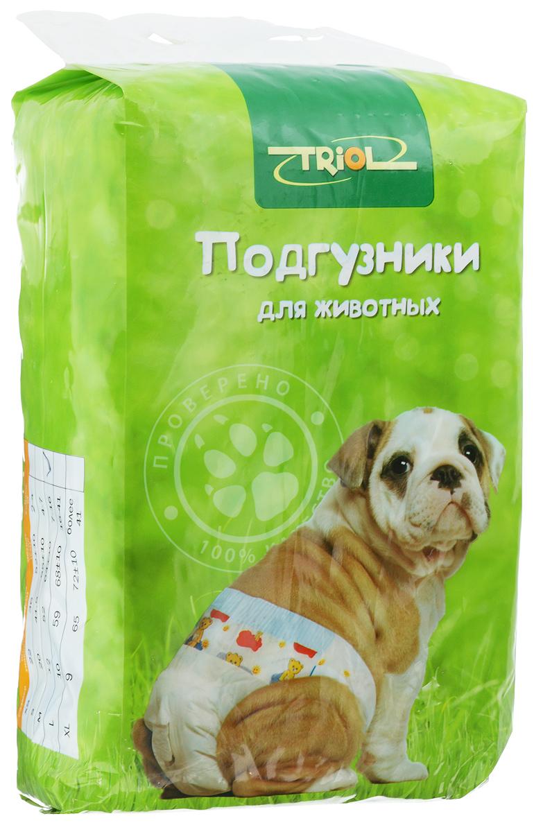 Подгузники для домашних животных Triol, 7-16 кг, 12 шт. Размер MDP03Подгузники для домашних животных Triol подходит для собак весом от 7 до 16 кг, с обхватом талии 64 ± 10 см и длиной 52 см. Внутренняя поверхность подгузника изготовлена исключительно из мягких и эластичных, содержащих хлопок нетканых материалов. Быстро впитывают влагу и оставляют поверхность сухой. Во избежание аллергических реакций не используются натуральные или искусственные отдушки. Впитывающий слой состоит из натуральной распушенной целлюлозы, которая является отличным абсорбентом. Внешний слой надежно удерживает жидкость внутри, а эластичные боковые барьеры позволяют избежать протекания. Кроме этого, верхний слой декорирован забавным рисунком. Комплектация: 12 шт.