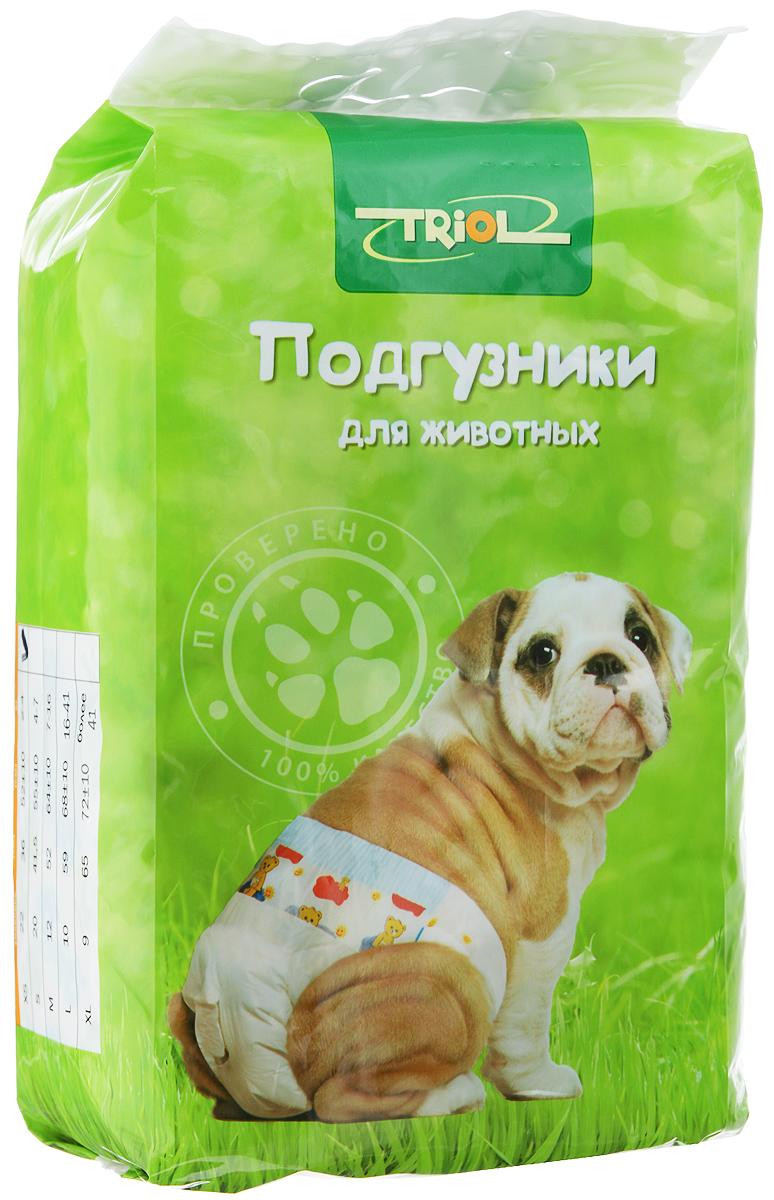 Подгузники для домашних животных Triol, 2-4 кг, 22 шт. Размер XSDP01Подгузники для домашних животных Triol подходит для собак весом от 2 до 4 кг, с обхватом талии 52 ± 10 см и длиной 36 см. Внутренняя поверхность подгузника изготовлена исключительно из мягких и эластичных, содержащих хлопок нетканых материалов. Быстро впитывают влагу и оставляют поверхность сухой. Во избежание аллергических реакций не используются натуральные или искусственные отдушки. Впитывающий слой состоит из натуральной распушенной целлюлозы, которая является отличным абсорбентом. Внешний слой надежно удерживает жидкость внутри, а эластичные боковые барьеры позволяют избежать протекания. Кроме этого, верхний слой декорирован забавным рисунком. Комплектация: 22 шт.