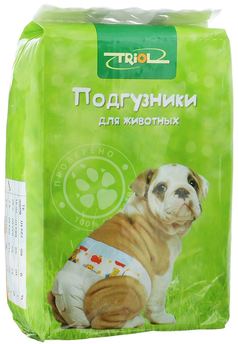 Подгузники для домашних животных Triol, 4-7 кг, 20 шт. Размер XDP02Подгузники для домашних животных Triol подходит для собак весом от 4 до 7 кг, с обхватом талии 55 ± 10 см и длиной 41,1 см. Внутренняя поверхность подгузника изготовлена исключительно из мягких и эластичных, содержащих хлопок нетканых материалов. Быстро впитывают влагу и оставляют поверхность сухой. Во избежание аллергических реакций не используются натуральные или искусственные отдушки. Впитывающий слой состоит из натуральной распушенной целлюлозы, которая является отличным абсорбентом. Внешний слой надежно удерживает жидкость внутри, а эластичные боковые барьеры позволяют избежать протекания. Кроме этого, верхний слой декорирован забавным рисунком. Комплектация: 20 шт.