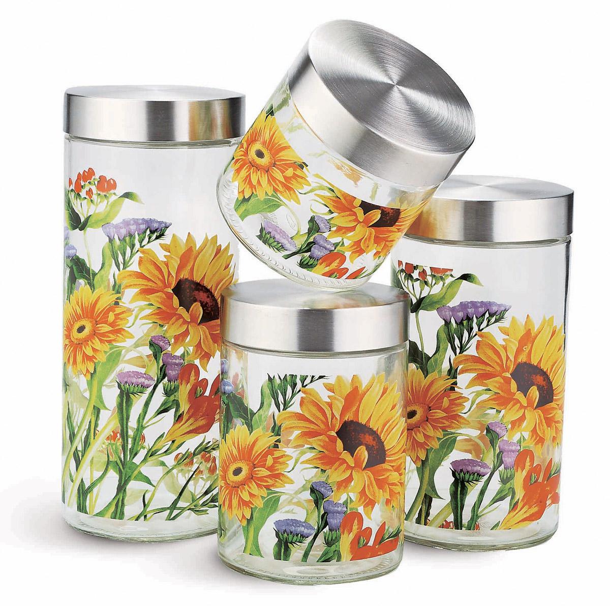 Набор емкостей для хранения продуктов SinoGlass, 4 предмета9209A404 pcs storage jar set