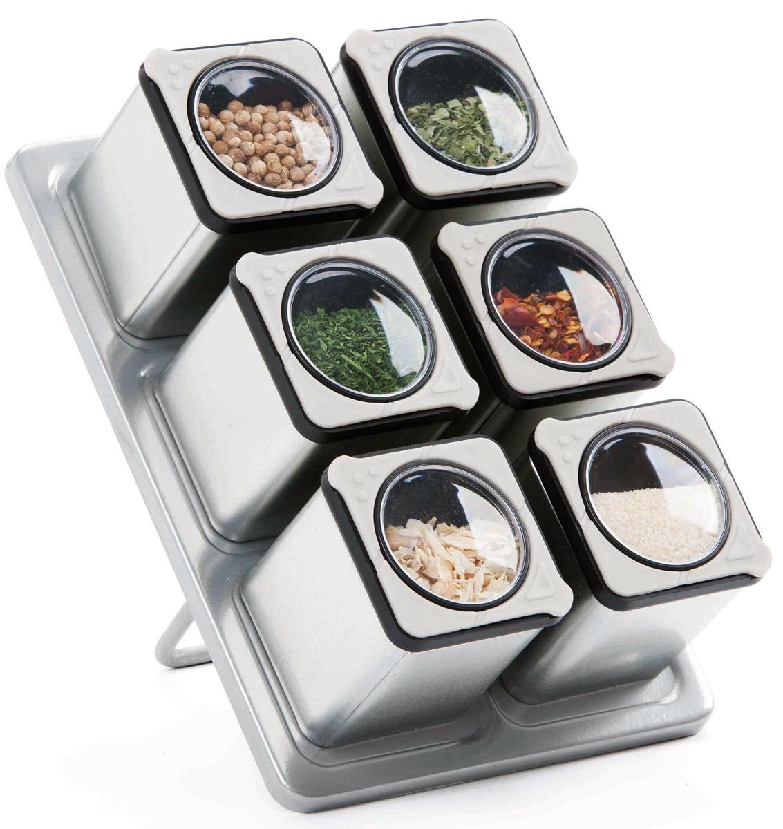 Набор для специй с магнитной подставкой SinoGlass, 6 предметов867920006pcs Tin Spice Jar rack set with magnet