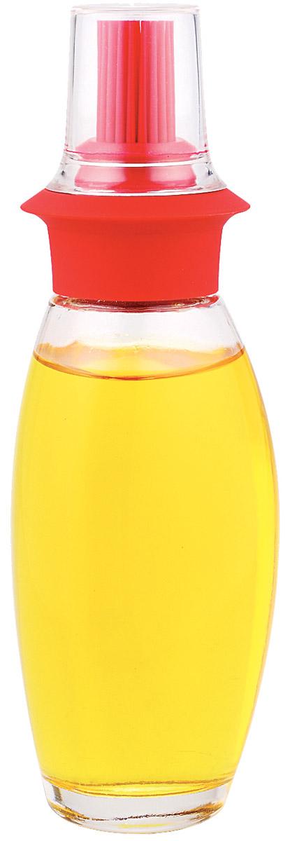 Емкость с кисточкой для хранения масла SinoGlass, цвет: красный8332006Silicone Brush Oil Bottle,black/red