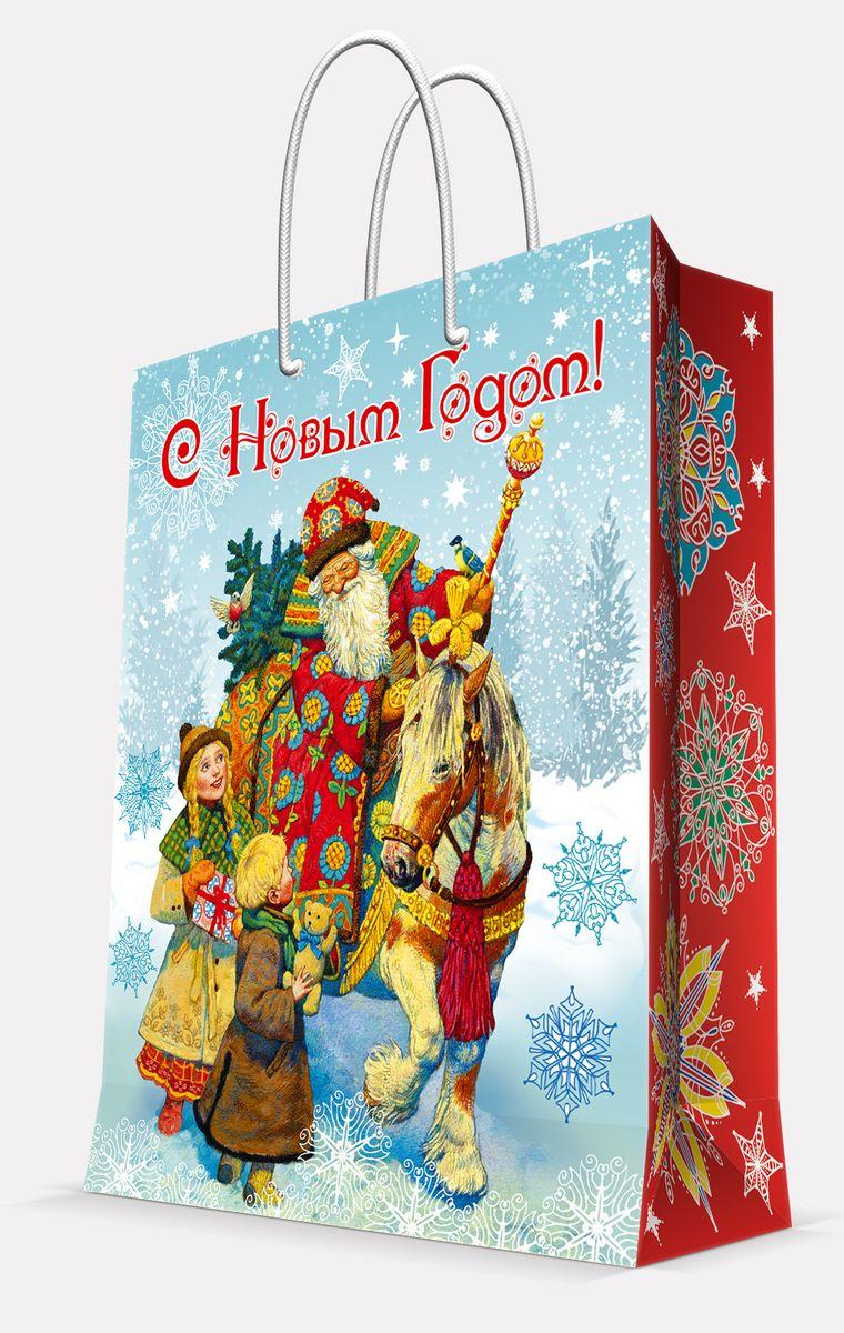 Пакет подарочный Magic Time Дед Мороз и дети, цвет: голубой, 17, 8 х 22,9 х 9,8 см41974Пакет бумажный ДЕД МОРОЗ И ДЕТИ для сувенирной продукции, с ламинацией, с шириной основания 17.8 см, плотность бумаги 140 г/м2 / 17,8х22,9х9,8