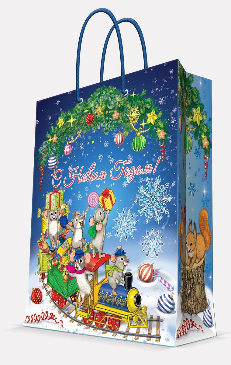 Пакет подарочный Magic Time Новогодний паровозик и мышата, цвет: синий, 17, 8 х 22,9 х 9,8 см41978Пакет бумажный НОВОГОДНИЙ ПАРОВОЗИК И МЫШАТА для сувенирной продукции, с ламинацией, с шириной основания 17.8 см, плотность бумаги 140 г/м2 / 17,8х22,9х9,8