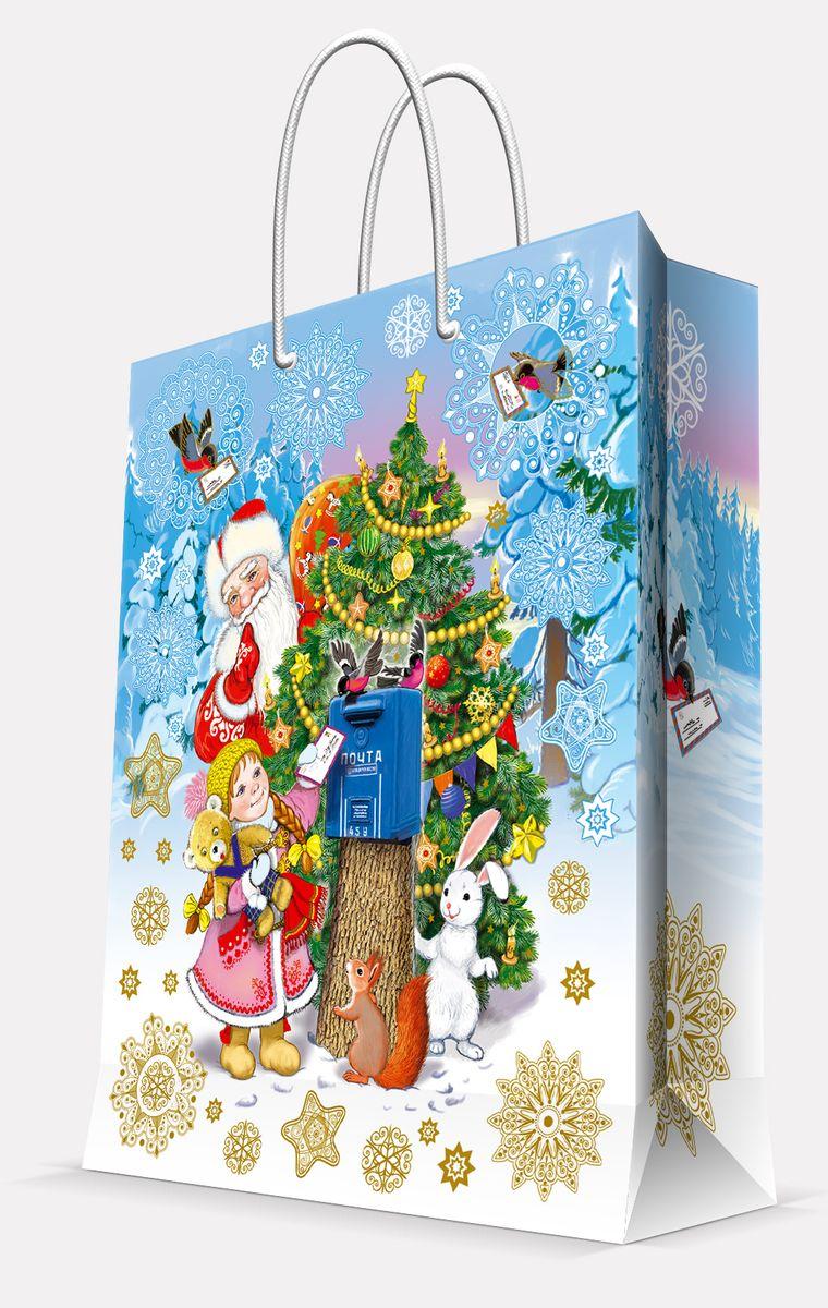 Пакет подарочный Magic Time Почта Деда Мороза, цвет: голубой, 17, 8 х 22,9 х 9,8 см41979Пакет бумажный ПОЧТА ДЕДА МОРОЗА для сувенирной продукции, с ламинацией, с шириной основания 17.8 см, плотность бумаги 140 г/м2 / 17,8х22,9х9,8