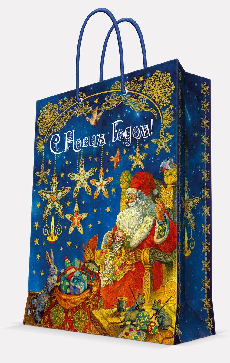 Пакет подарочный Magic Time Мастерская Деда Мороза, цвет: синий, 17, 8 х 22,9 х 9,8 см41980Пакет бумажный МАСТЕРСКАЯ ДЕДА МОРОЗА для сувенирной продукции, с ламинацией, с шириной основания 17.8 см, плотность бумаги 140 г/м2 / 17,8х22,9х9,8