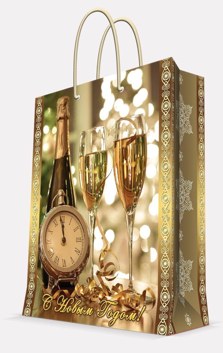 Пакет подарочный Magic Time Часы и бокалы, цвет: золотой, 17, 8 х 22,9 х 9,8 см41984Пакет бумажный ЧАСЫ И БОКАЛЫ для сувенирной продукции, с ламинацией, с шириной основания 17.8 см, плотность бумаги 140 г/м2 / 17,8х22,9х9,8