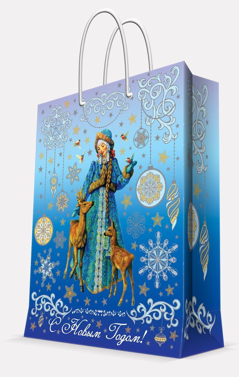 Пакет подарочный Magic Time Снегурочка и оленята, цвет: синий, 26 х 32,4 х 12,7 см41998Пакет бумажный СНЕГУРОЧКА И ОЛЕНЯТА для сувенирной продукции, с ламинацией, с шириной основания 26 см, плотность бумаги 140 г/м2 / 26х32,4х12,7