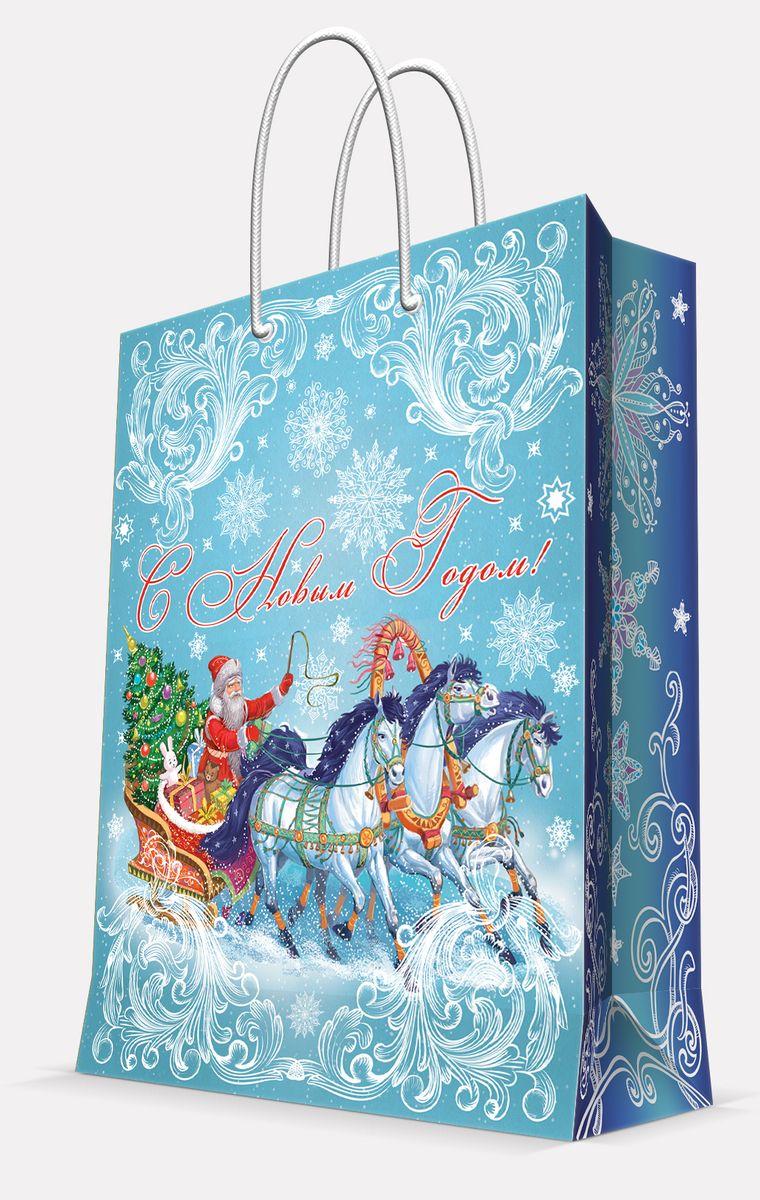Пакет подарочный Magic Time Дед Мороз на Тройке, цвет: голубой, 26 х 32,4 х 12,7 см42003Пакет бумажный ДЕД МОРОЗ НА ТРОЙКЕ для сувенирной продукции, с ламинацией, с шириной основания 26 см, плотность бумаги 140 г/м2 / 26х32,4х12,7