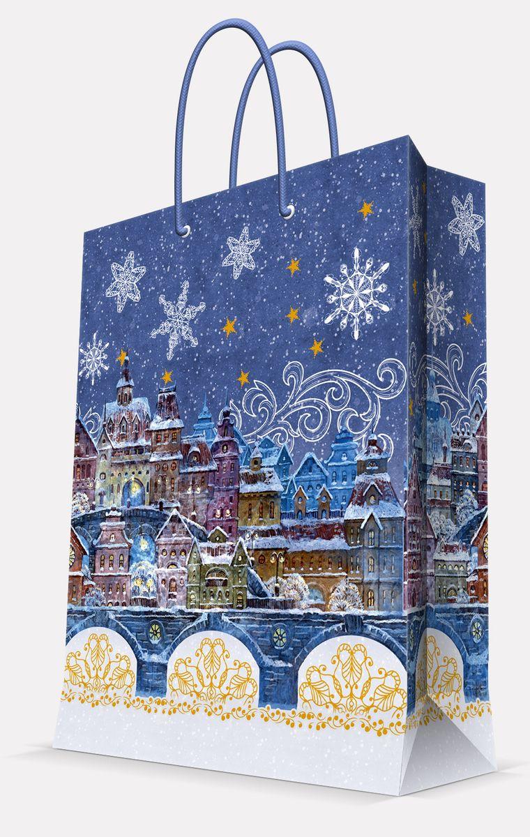 Пакет подарочный Magic Time Сказочный город, цвет: синий, 26 х 32,4 х 12,7 см42008Пакет бумажный СКАЗОЧНЫЙ ГОРОД для сувенирной продукции, с ламинацией, с шириной основания 26 см, плотность бумаги 140 г/м2 / 26х32,4х12,7
