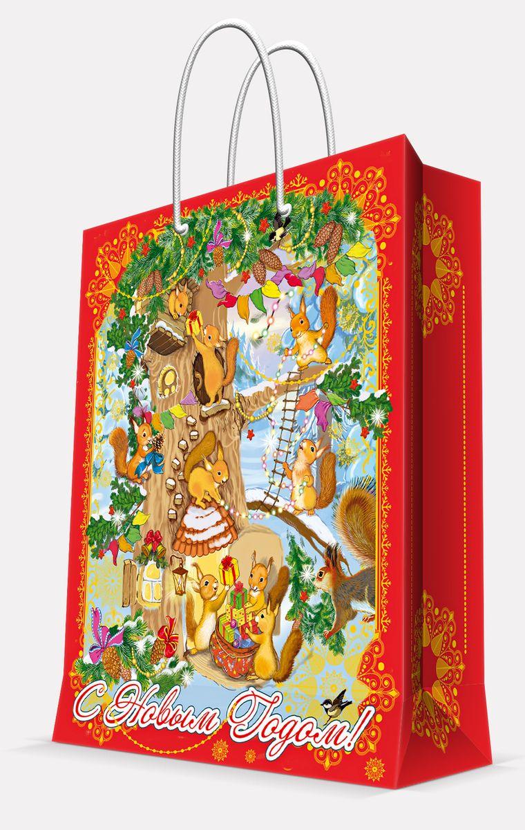 Пакет подарочный Magic Time Белочки, цвет: красный, 26 х 32,4 х 12,7 см42011Пакет бумажный БЕЛОЧКИ для сувенирной продукции, с ламинацией, с шириной основания 26 см, плотность бумаги 140 г/м2 / 26х32,4х12,7