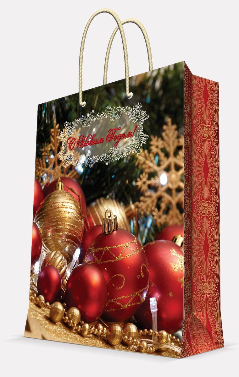 Пакет подарочный Magic Time Новогодние шары, цвет: красный, 26 х 32,4 х 12,7 см42013Пакет бумажный НОВОГОДНИЕ ШАРЫ для сувенирной продукции, с ламинацией, с шириной основания 26 см, плотность бумаги 140 г/м2 / 26х32,4х12,7