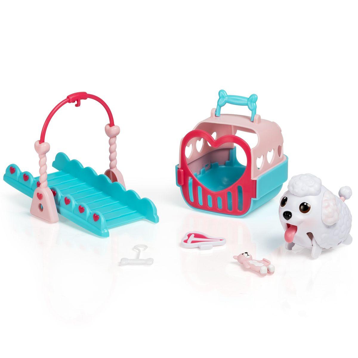Chubby Puppies Игровой набор Детская площадка56701Набор Chubby Puppies состоит из щенка, домика для него, элемента детской площадки, ошейника с эмблемой и аксессуаров.