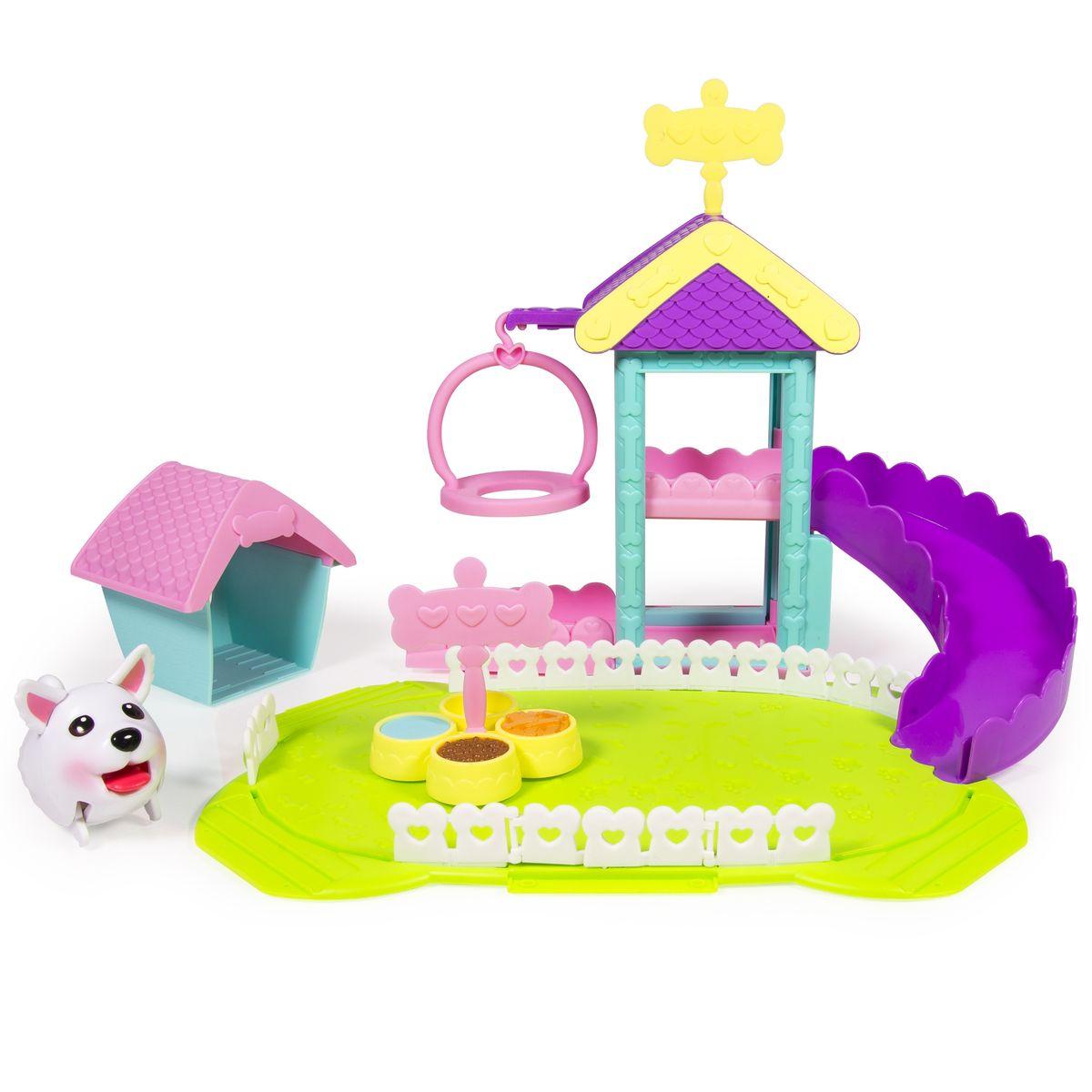 Chubby Puppies Игровой набор Парк развлечений56702Игровой набор Chubby Puppies Парк развлечений предназначен для увлекательной сюжетно-ролевой игры для детей от четырех лет. В комплект входят фигурка очаровательного щенка французского бульдога, игровая площадка с качелькой и горкой, будка, миска с едой и питьем. В таком парке развлечений можно играть с фигуркой щенка с доброжелательной мордашкой, которая наверняка понравятся вашему ребенку. Он умеет забавно передвигаться, шагая вразвалку, благодаря чему игра с ними становится еще более интересной и увлекательной. Набор выполнен из качественного пластика и совершенно безопасен для здоровья вашего ребенка.