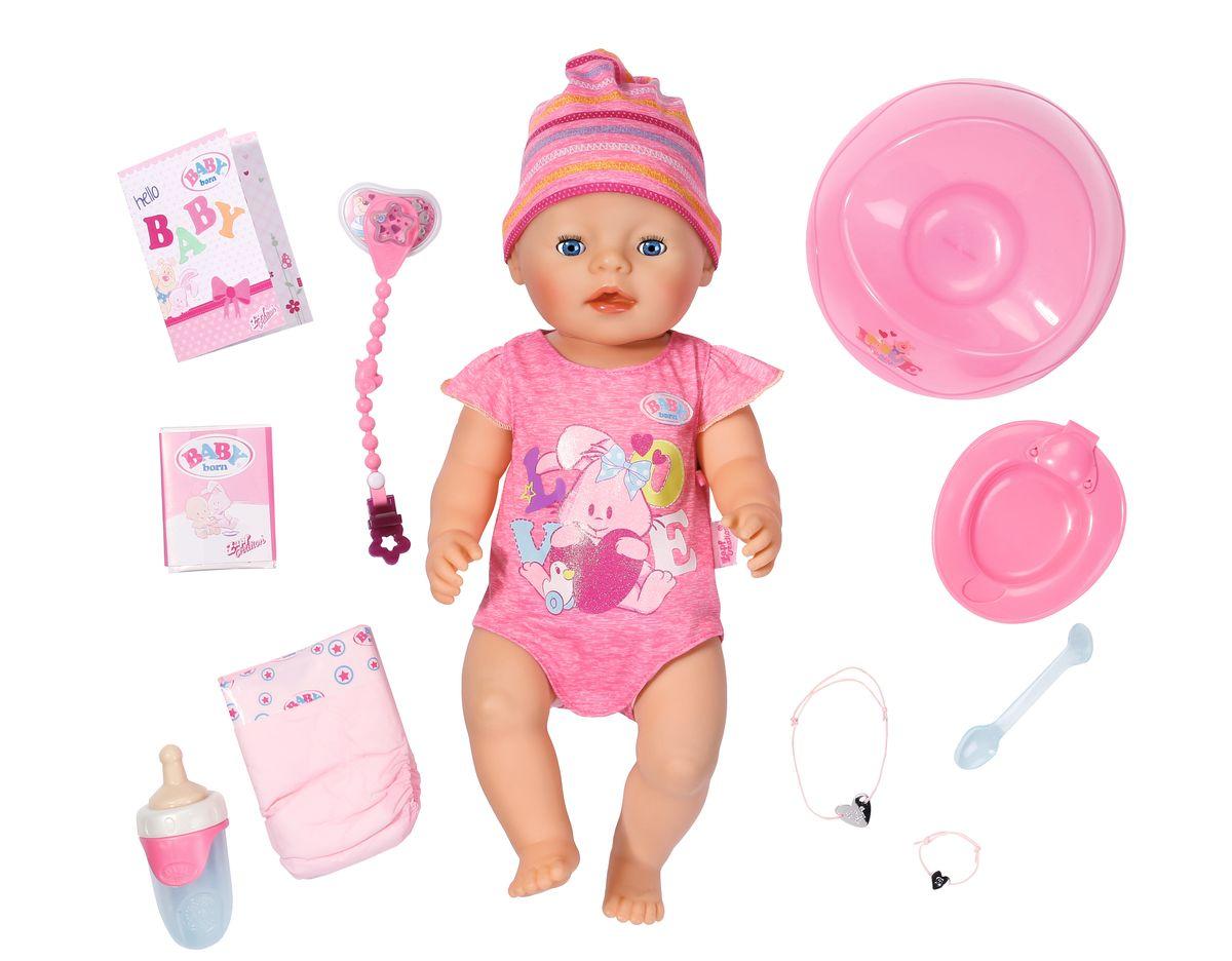 Baby Born Интерактивная кукла823-163Интерактивная кукла Baby Born порадует вашу малышку и доставит ей много удовольствия от часов, посвященных игре с ней. Кукла выглядит совсем как настоящий младенец. У нее большие голубые глазки, длинные ресницы, пухлые щечки и поджатые розовые губки. Борн одета в розовый боди с короткими рукавами, на голове шапочка. Кукла полностью выполнена из экологически чистых, нетоксичных, качественных материалов - пластика и текстиля. Кукла пьет из бутылочки водичку, плачет слезками, ест кашку, ходит в туалет на горшочек или памперс (при нажатии на пупочек). Ее можно купать в ванночке. А после насыщенного дня уложить спать, положив на спинку. Игра с этим пупсом поможет развить воображение и фантазию вашего ребенка, а также воспитает чувство ответственности и заботы. Ваша девочка почувствует себя настоящей мамой и поможет пупсу Baby Annabell сделать свои первые шаги. Кукла механическая, батарейки не требуются.