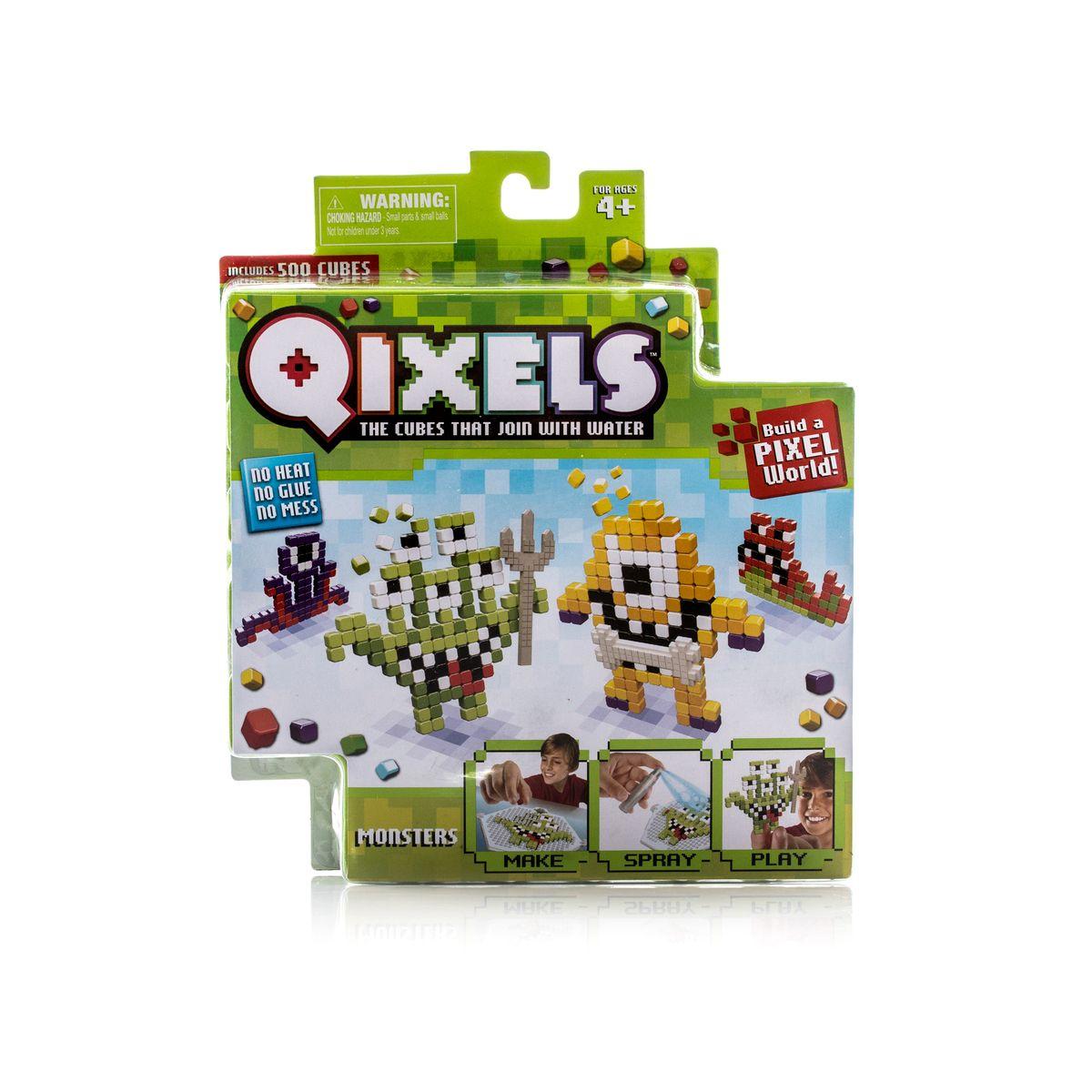 Qixels Набор для творчества МонстрикиQ87001Тематический набор для творчества Qixels «Монстрики» - это набор разноцветных кубиков и лекал, с помощью которых можно создавать забавные двухмерные игрушки собственными руками. Соберите фигурку из ярких деталей по одному из 4-х лекал, входящих в комплект набора, или придумайте собственный дизайн, после чего обрызгайте её водой из распылителя и подождите 30 минут. После высыхания, с полученной фигуркой можно играть как с самой обычной игрушкой! В комплект набора входит: 500 x кубиков 1 x дизайн лоток 4 x цветных дизайн лекала фантастических монстриков 1 x опора 1 x база 2 x аксессуара 1 x бирка с нитью 1 x распылитель для воды 1 x инструкция