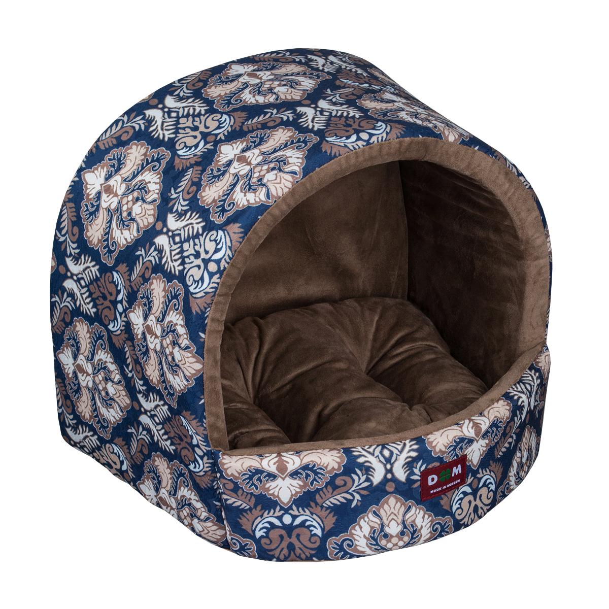 Домик для собак Dogmoda Барон, цвет: синий, бежевый, коричневыйDM-160273Домик Dogmoda Барон обязательно понравится вашему питомцу. Он предназначен для собак и изготовлен из жаккарда и искусственной замши, внутри - мягкий наполнитель из поролона и холлофайбера. Стежка надежно удерживает наполнитель внутри и не позволяет ему скатываться. Домик очень удобный и уютный, он оснащен мягкой съемной подстилкой. Ваш любимец сразу же захочет забраться внутрь, там он сможет отдохнуть и спрятаться. Компактные размеры позволят поместить домик, где угодно, а приятная цветовая гамма сделает его оригинальным дополнением к любому интерьеру.