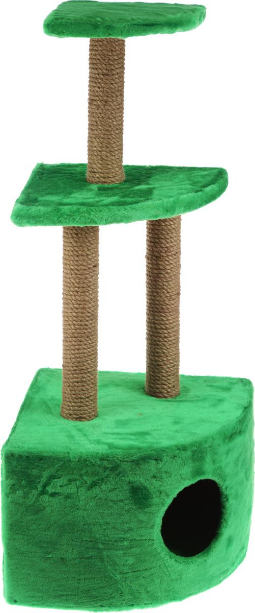 Домик-когтеточка ЗооМарк, угловой, 3-ярусный, цвет: зеленый, бежевый, 42 х 42 х 105 см130_зеленыйДомик-когтеточка ЗооМарк выполнен из высококачественного дерева и обтянут искусственным мехом. Изделие предназначено для кошек. Домик имеет 3 яруса. Ваш домашний питомец будет с удовольствием точить когти о специальные столбики, изготовленные из джута. А отдохнуть он сможет либо на полках, либо в расположенном внизу домике. Общий размер: 42 х 42 х 105 см. Размер домика: 42 х 42 х 31 см. Размер большой полки: 35 х 35 см. Размер малой полки: 25 х 25 см.