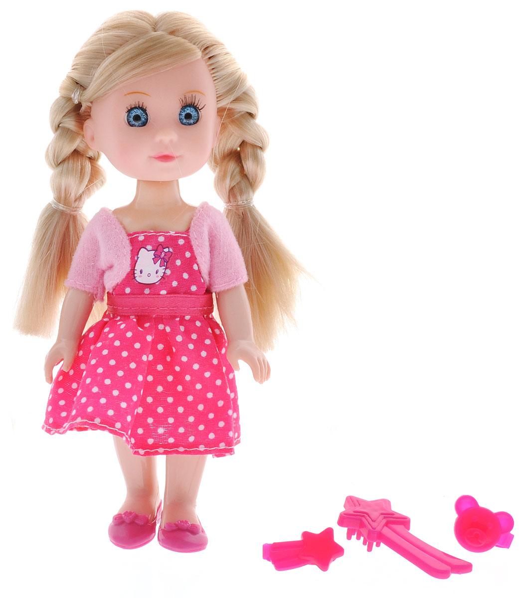 Карапуз Мини-кукла озвученная Моя подружка Машенька цвет наряда розовый фуксияMARY001X-HK_розовый, фуксияОзвученная мини-кукла Карапуз Моя подружка Машенька порадует любую девочку и позволит ей окунуться в сказочный мир волшебства. Машенька одета в яркое платье в белый горошек и розовую кофточку, на ногах куклы - розовые туфельки. Вашей дочурке непременно понравится заплетать длинные светлые волосы куклы, придумывая разнообразные прически. Руки, ноги и голова куклы подвижны, благодаря чему ей можно придавать разнообразные позы. Кроме того, куколка оснащена звуковыми эффектами. Она знает 4 стихотворения, поет и говорит. В наборе также имеется расческа для куклы и две заколочки. Игры с куклой способствуют эмоциональному развитию, помогают формировать воображение и художественный вкус, а также разовьют в вашей малышке чувство ответственности и заботы. Великолепное качество исполнения делают эту куколку чудесным подарком к любому празднику. Рекомендуется докупить 3 батарейки типа LR41/L736 (товар комплектуется демонстрационными).
