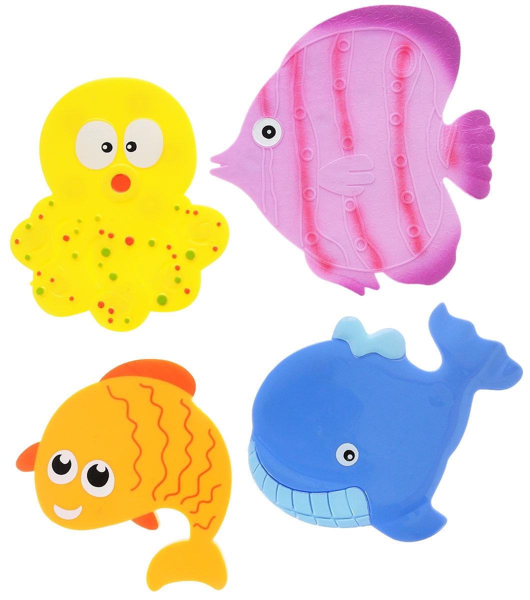 Valiant Мини-коврик для ванной комнаты Подводный мир на присосках 4 штMIX4S5Мини-коврик для ванной комнаты Valiant Подводный мир - это модный и экономичный способ сделать вашу ванную комнату более уютной, красивой и безопасной. В наборе представлены 4 мини-коврика. Коврики прочно крепятся на любую гладкую поверхность с помощью присосок. Расположите коврики там, где вам необходимо яркое цветовое пятно и надежная противоскользящая опора - на поверхности ванной, на кафельной стене или стенке душевой кабины или на полу - как дополнение вашего коврика стандартного размера. Мини-коврики Valiant незаменимы при купании маленького ребенка: он не поскользнется и не упадет, держась за мягкую и приятную на ощупь рифленую поверхность коврика. Рекомендации по уходу: после использования тщательно смойте остатки мыла или других косметических средств с коврика.