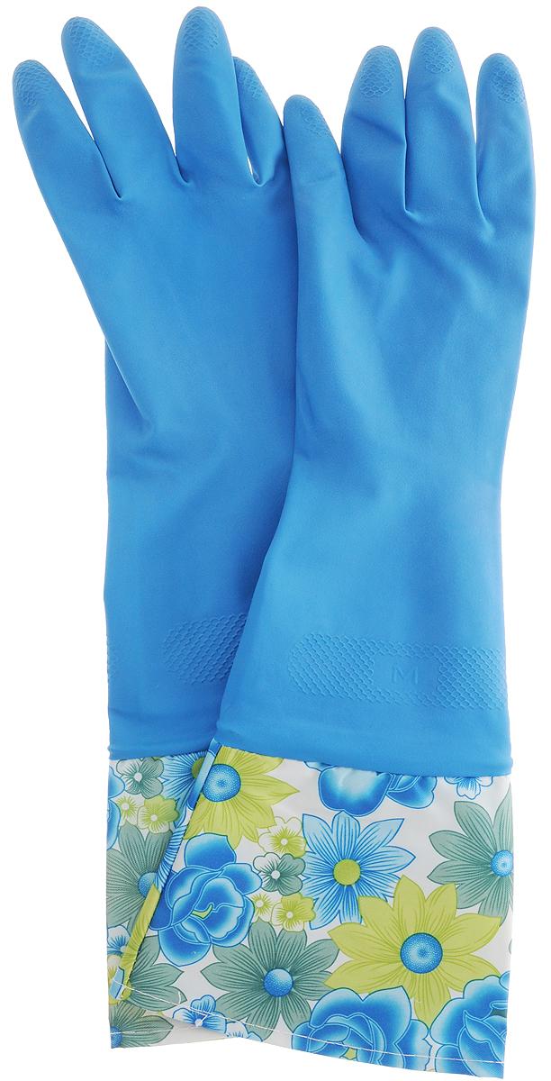 Перчатки латексные с манжетами Youll love, цвет: синий. Размер М56486Латексные перчатки Youll love отлично защищают руки от загрязнений и воздействия моющих средств. Дополнительную защиту от грязи и бытовой химии обеспечивает удлиненная манжета. Прочные и долговечные. Хлопковое напыление обеспечивает комфортное использование.