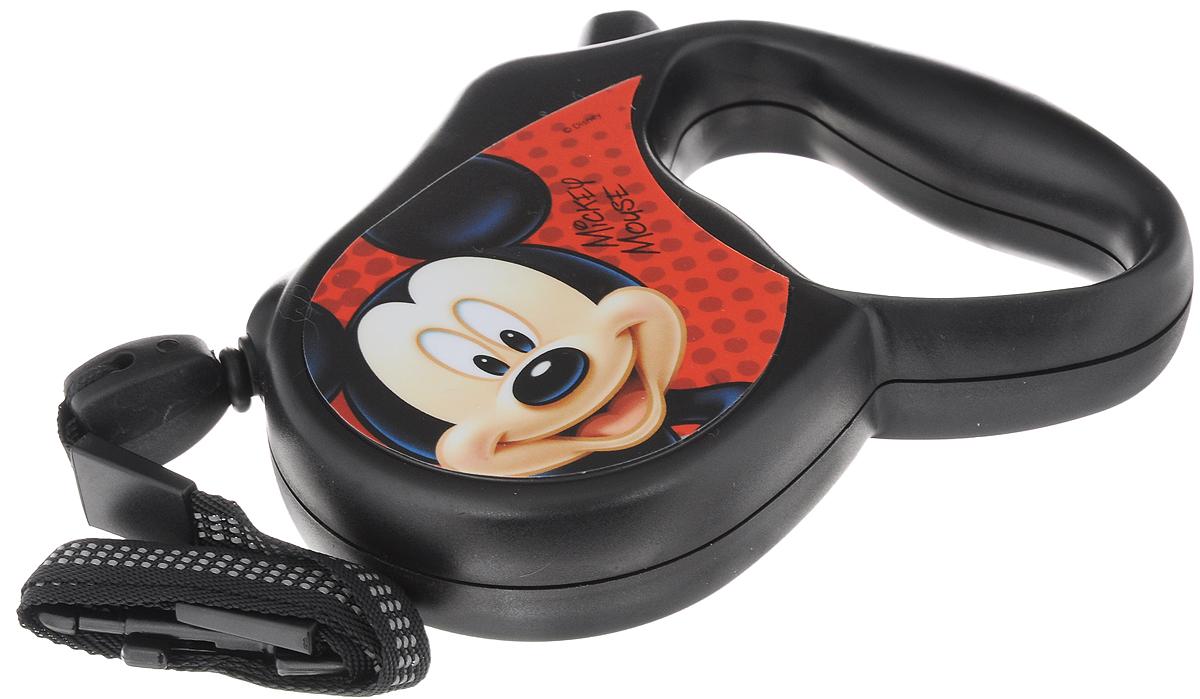 Поводок-рулетка Triol Disney. Mickey, для собак до 12 кг, цвет: черный, красный, 3 мWD1001Поводок-рулетка Triol Disney. Mickey, выполненный из пластика, обеспечит безопасность вам и вашему любимцу. Благодаря специальному покрытию ручки и надежному замку вы сможете полностью контролировать свою собаку на прогулке. Теперь вам не придется за ней бегать. Вы можете просто ослабить фиксатор, и лента будет вытягиваться по всей длине поводка и автоматически приспосабливаться к движениям вашей собаки до того момента, пока вы не нажмете на кнопку блокировки. Длина ленты: 3 м. Максимальная нагрузка: 12 кг.