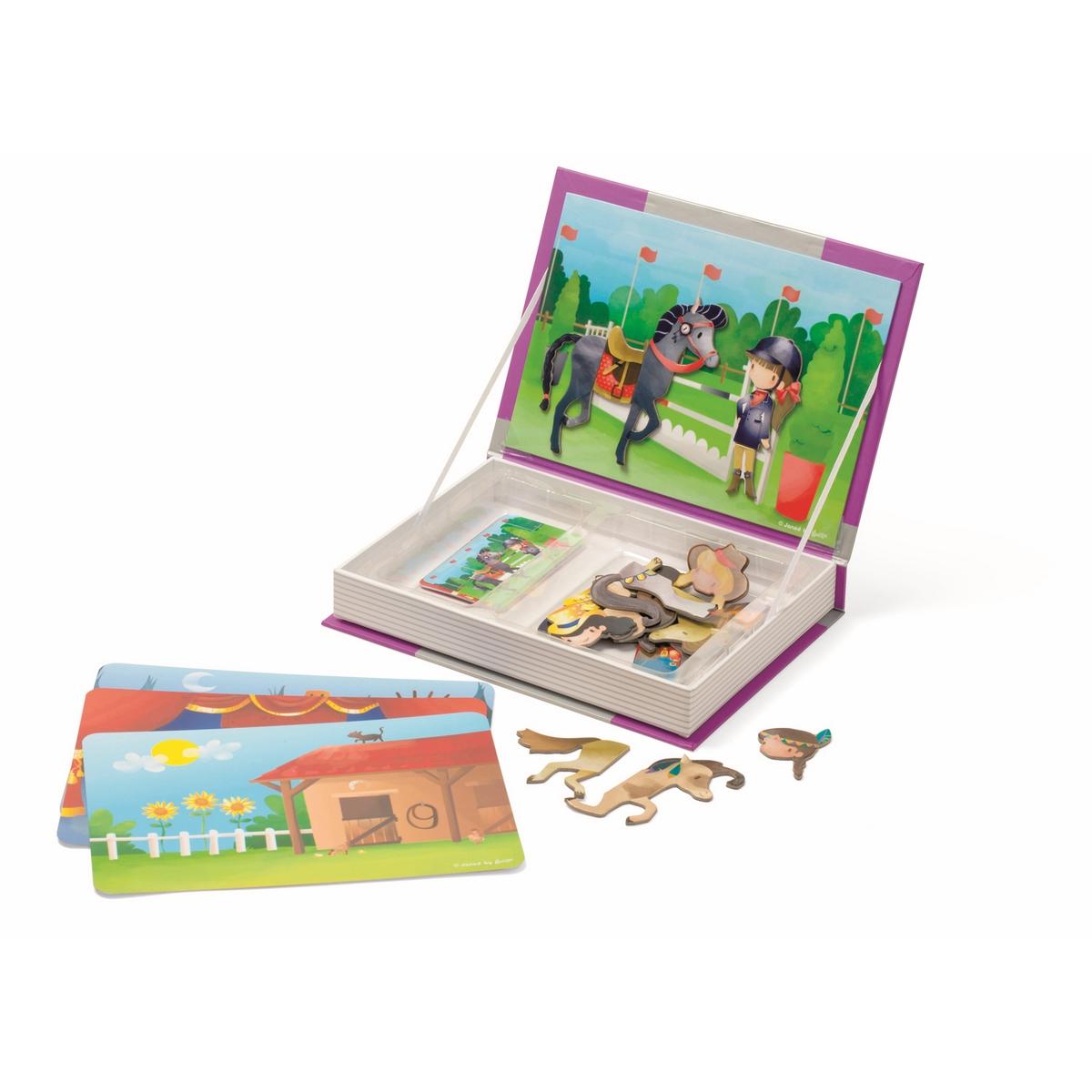 Janod Магнитная книга-игра ЛошадкиJ02833Магнитная книга-игра Janod Лошадки внешне выглядит как толстая книга. Изготовлена из плотного картона. Дизайн книги оформлен в соответствии с ее тематикой. Обложка книги открывается и с обратной стороны находится большая игровая картинка; внутри пространство, в котором по ячейкам лежат карточки с игровыми элементами. Карточки зрительно подсказывают ребенку, что нужно сделать. Находим нужный элемент и крепим его на картинку. Элементы игры - магнитные. Обложка книги самопроизвольно открыться не может, так как примагничивается к основному корпусу книги. Поэтому после игры все аккуратно остается внутри книги и ее можно убрать на полку.