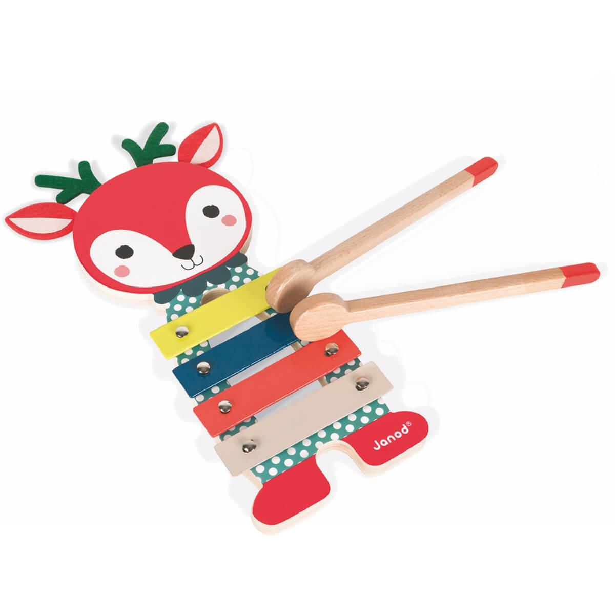 Janod Металлофон ОлененокJ08012Необычайно милый, яркий деревянный ксилофон Олененок не оставит равнодушными ни детей ни их родителей!