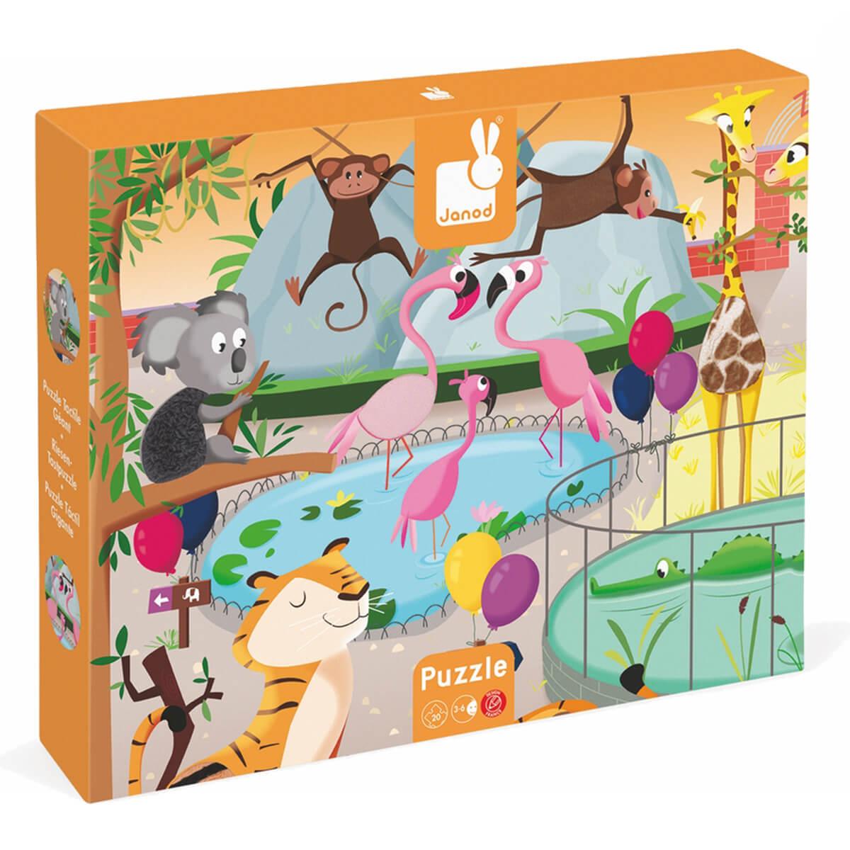 Janod Пазл День в зоопаркеJ02774Пазл Janod День в зоопарке - удивительные пазлы из ламинированного картона с добавлением текстильных материалов различных текстур. Пазл состоит из 20 элементов. Материал подобран так, чтобы и цветом и самой текстурой подходил тому или иному обитателю зоопарка. Тем самым, дети воспринимают и запоминают животных не только на визуальном уровне, но и на тактическом.