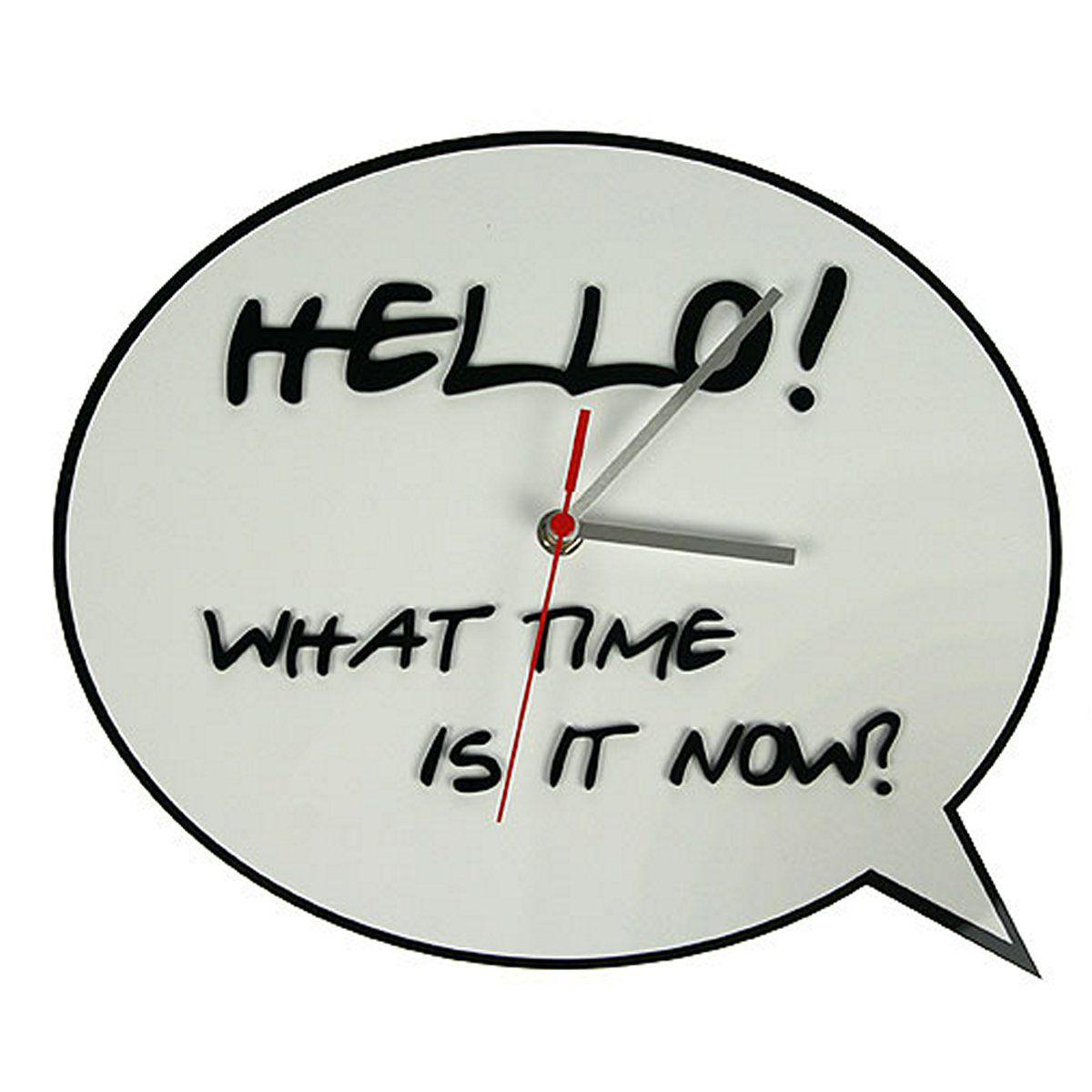 Часы настенные Русские Подарки, диаметр 30 см. 122421122421Настенные кварцевые часы Русские Подарки изготовлены из полиамида. Корпус оформлен надписью на английском языке: Hello! What time is it now?. Часы имеют три стрелки - часовую, минутную и секундную. С обратной стороны имеется петелька для подвешивания на стену. Такие часы красиво и оригинально оформят интерьер дома или офиса. Также часы могут стать уникальным, полезным подарком для родственников, коллег, знакомых и близких. Часы работают от батареек типа АА (в комплект не входят).
