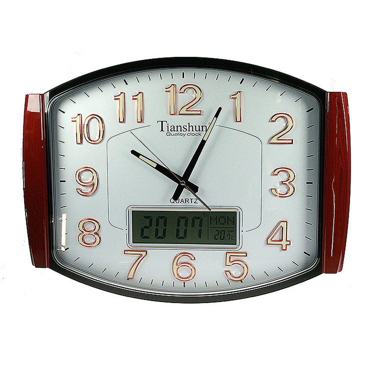 Часы настенные Русские Подарки, с календарем, термометром, электронными часами, 59 х 44 см. 148107148107
