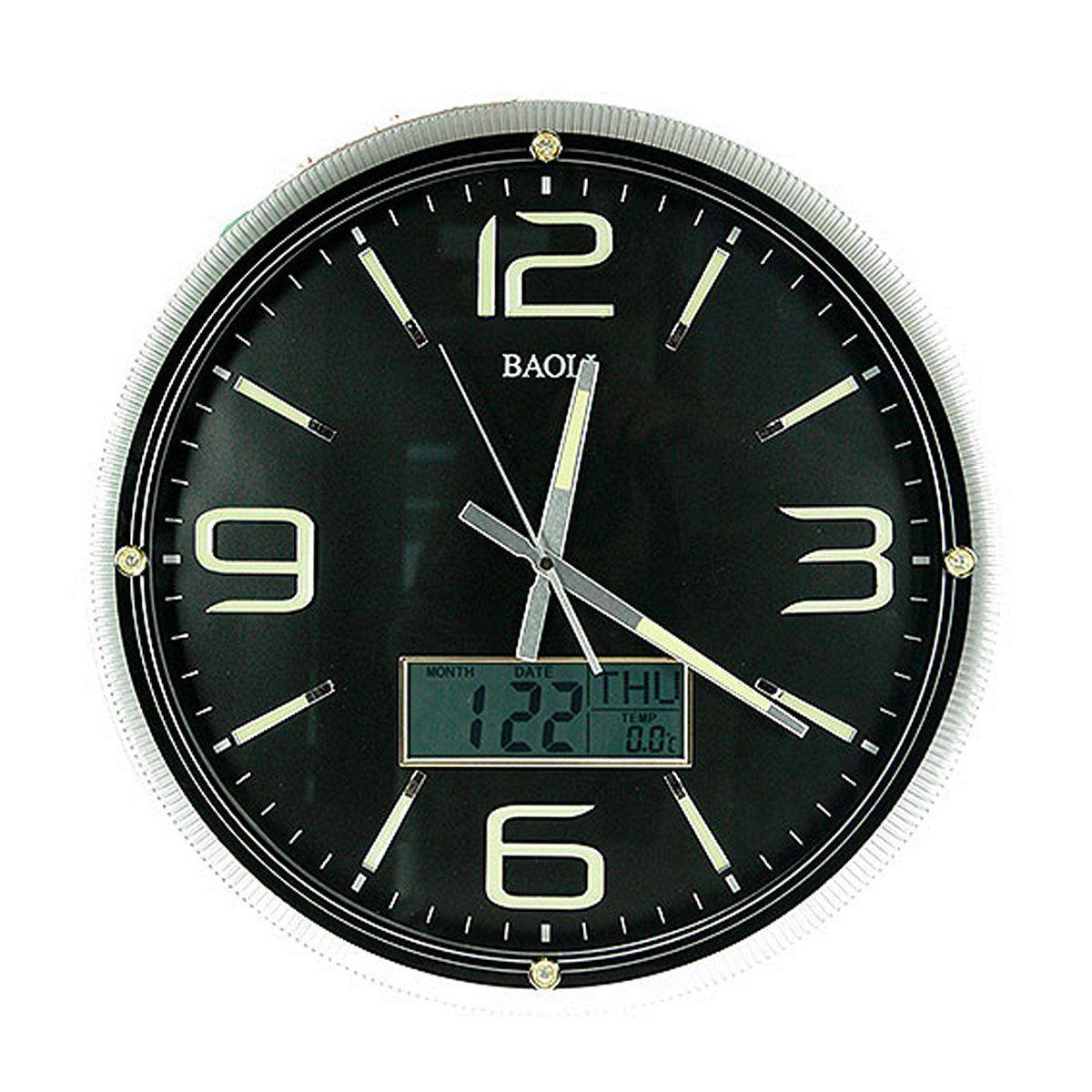 """Часы настенные """"Русские Подарки"""", с календарем, термометром, электронными часами, диаметр 42 см. 148120"""