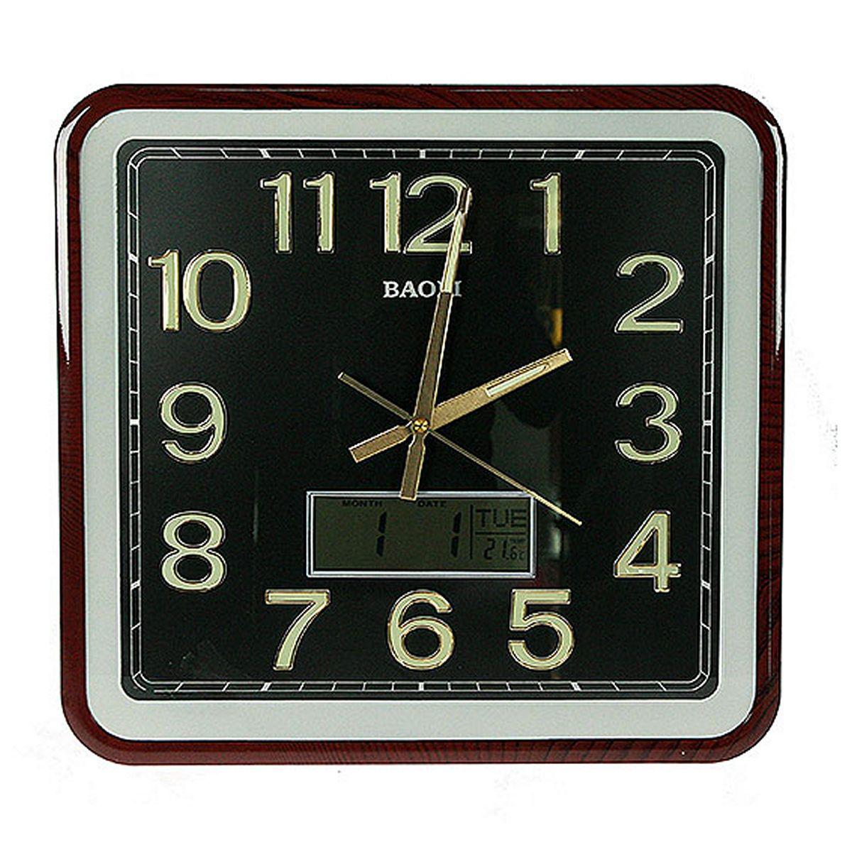 Часы настенные Русские Подарки, с календарем, термометром, электронными часами, 39 х 42 см. 148126148126