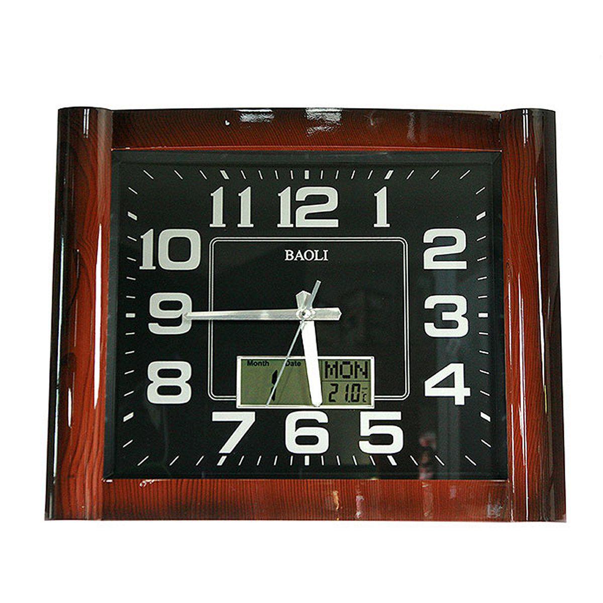 Часы настенные Русские Подарки, с календарем, термометром, электронными часами, 41 х 50 см. 148127148127