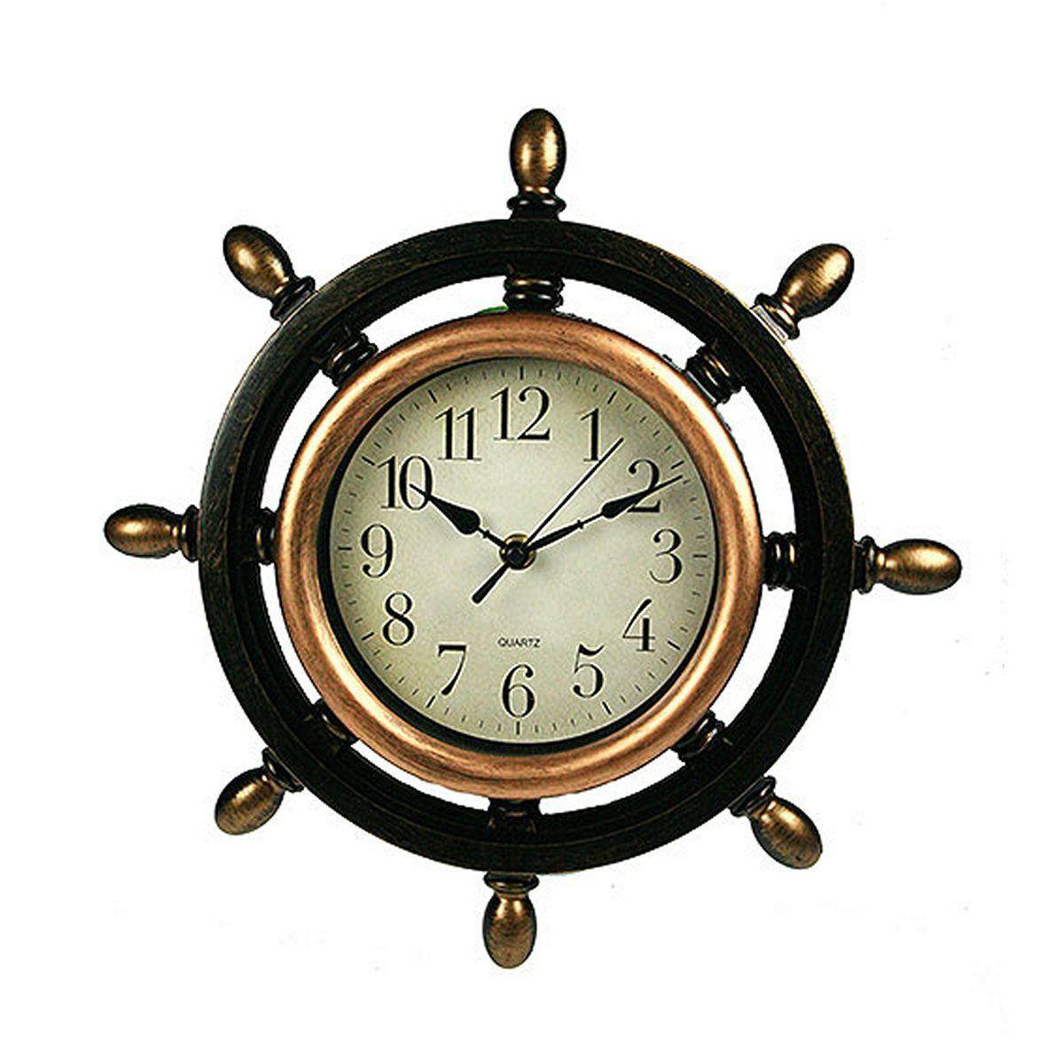 Часы настенные Русские Подарки Штурвал, диаметр 33 см. 222434222434Настенные кварцевые часы Русские Подарки Штурвал изготовлены из пластика. Корпус оригинально оформлен в виде штурвала. Циферблат защищен стеклом. Часы имеют три стрелки - часовую, минутную и секундную. С обратной стороны имеется петелька для подвешивания на стену. Такие часы красиво и необычно оформят интерьер дома или офиса. Также часы могут стать уникальным, полезным подарком для родственников, коллег, знакомых и близких. Часы работают от батареек типа АА (в комплект не входят).