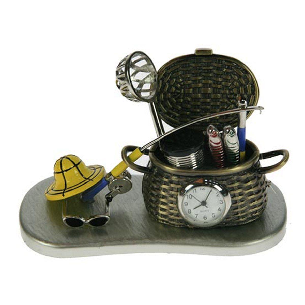 Часы настольные Русские Подарки Рыбалка, 11 х 6 х 7 см. 2240622406