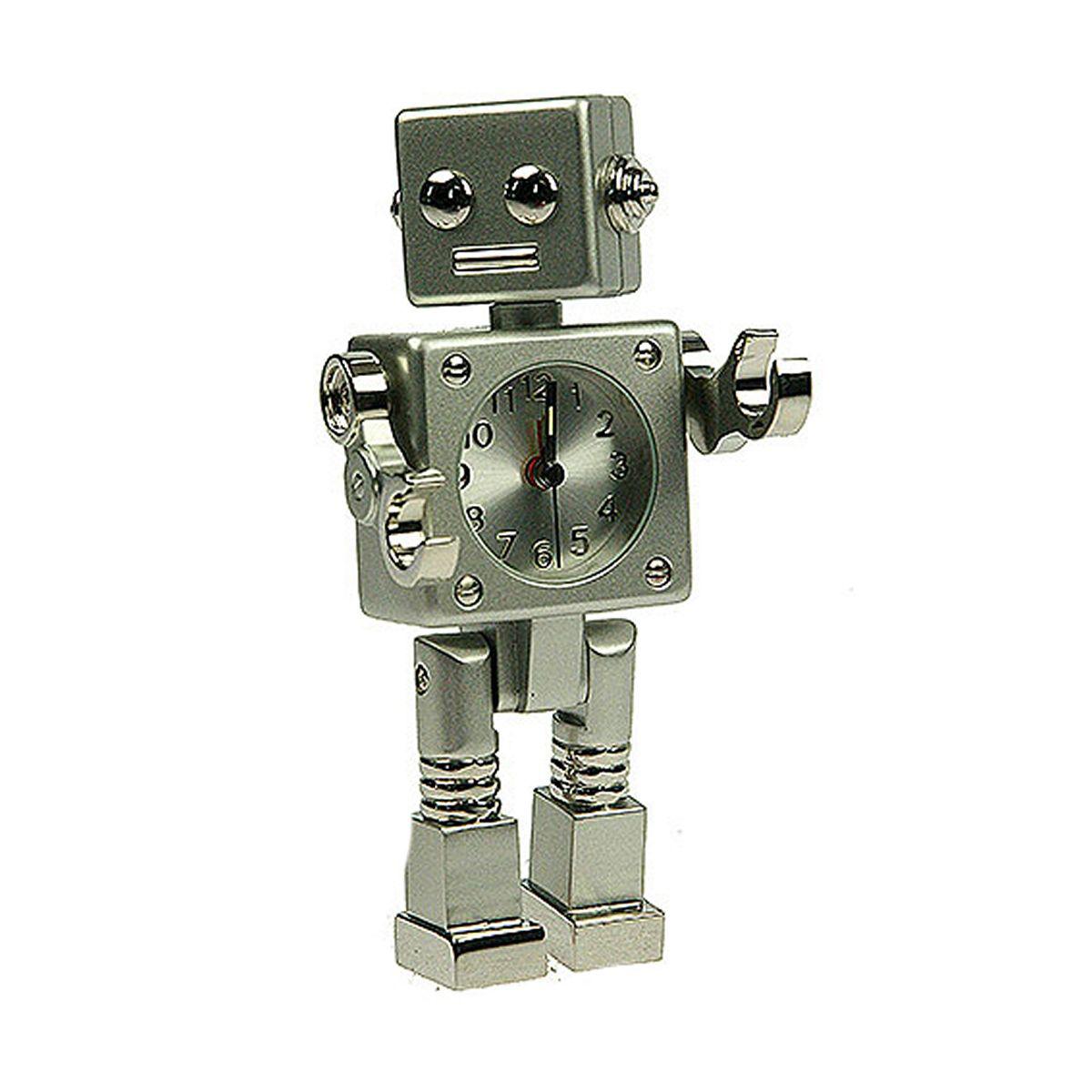 Часы настольные Русские Подарки Робот. 2243222432Настольные кварцевые часы Русские Подарки Робот изготовлены из металла. Изделие оригинально оформлено в виде робота. Часы имеют три стрелки - часовую, минутную и секундную. Такие часы украсят интерьер дома или рабочий стол в офисе. Также часы могут стать уникальным, полезным подарком для родственников, коллег, знакомых и близких. Часы работают от батареек типа SR626 (в комплект не входят).
